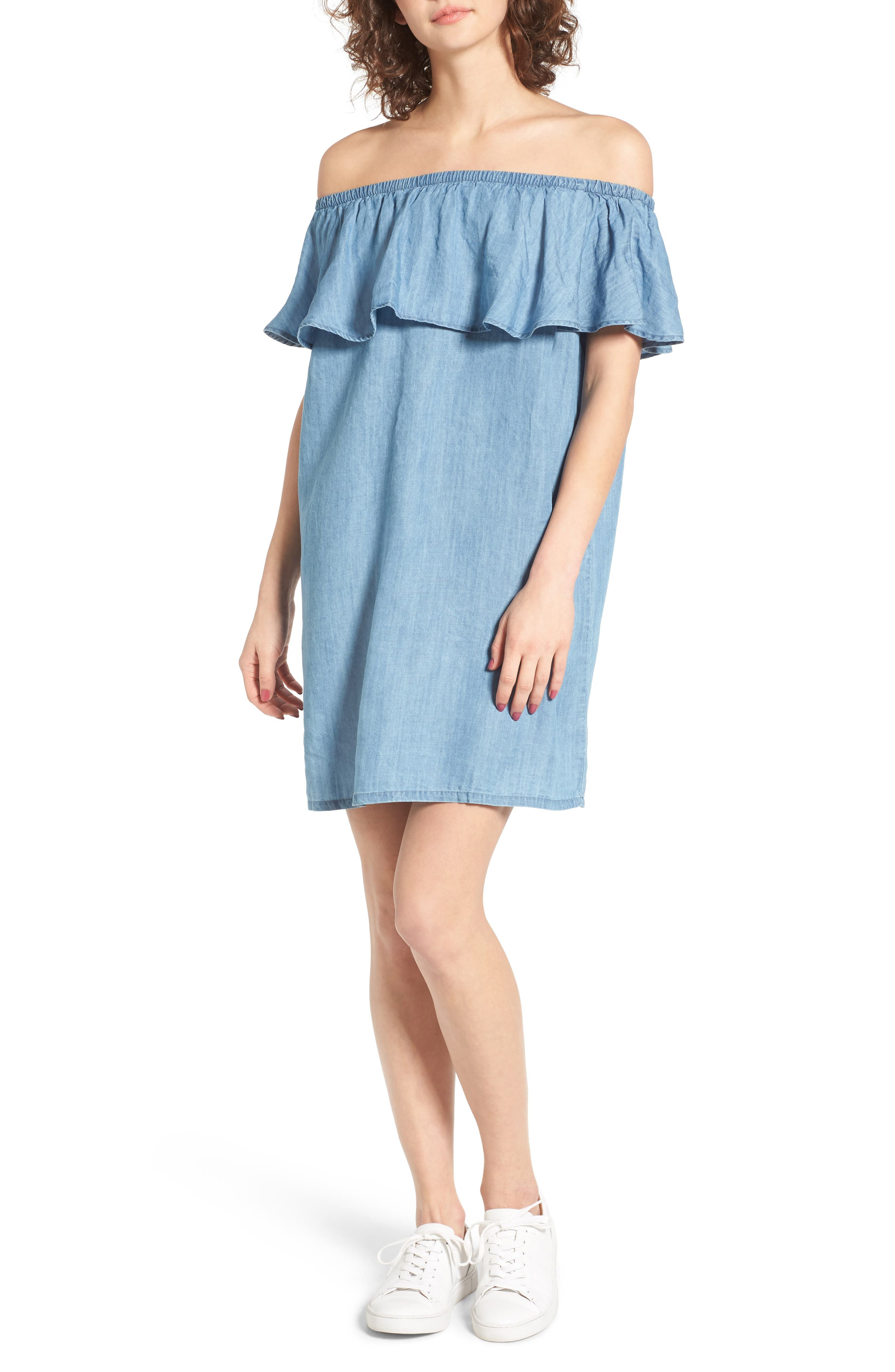 Hinge Off the Shoulder Chambray Cover-Up