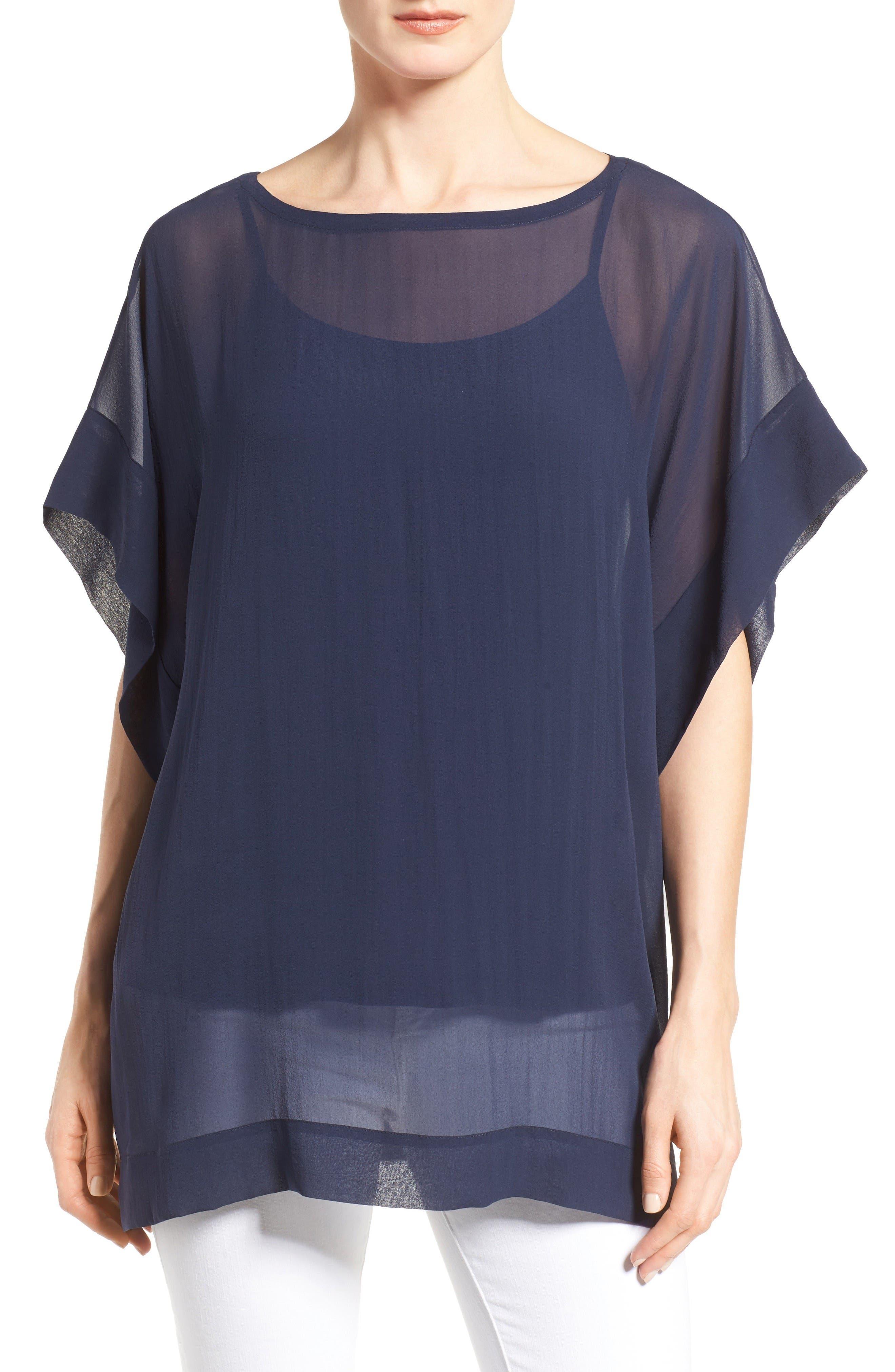 Eileen Fisher Bateau Neck Silk Boxy Top (Regular & Petite)