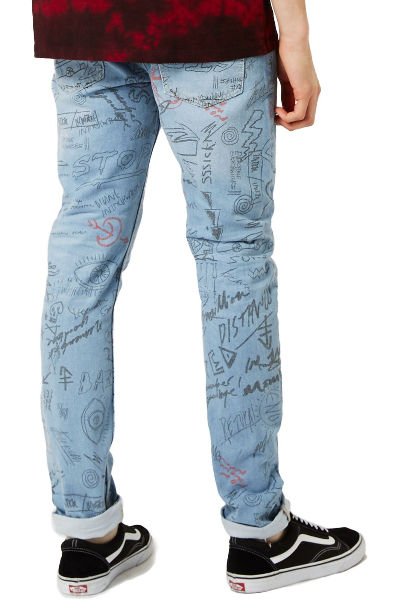 Alternate Image 3  - Topman Doodle Print Stretch Skinny Fit Jeans