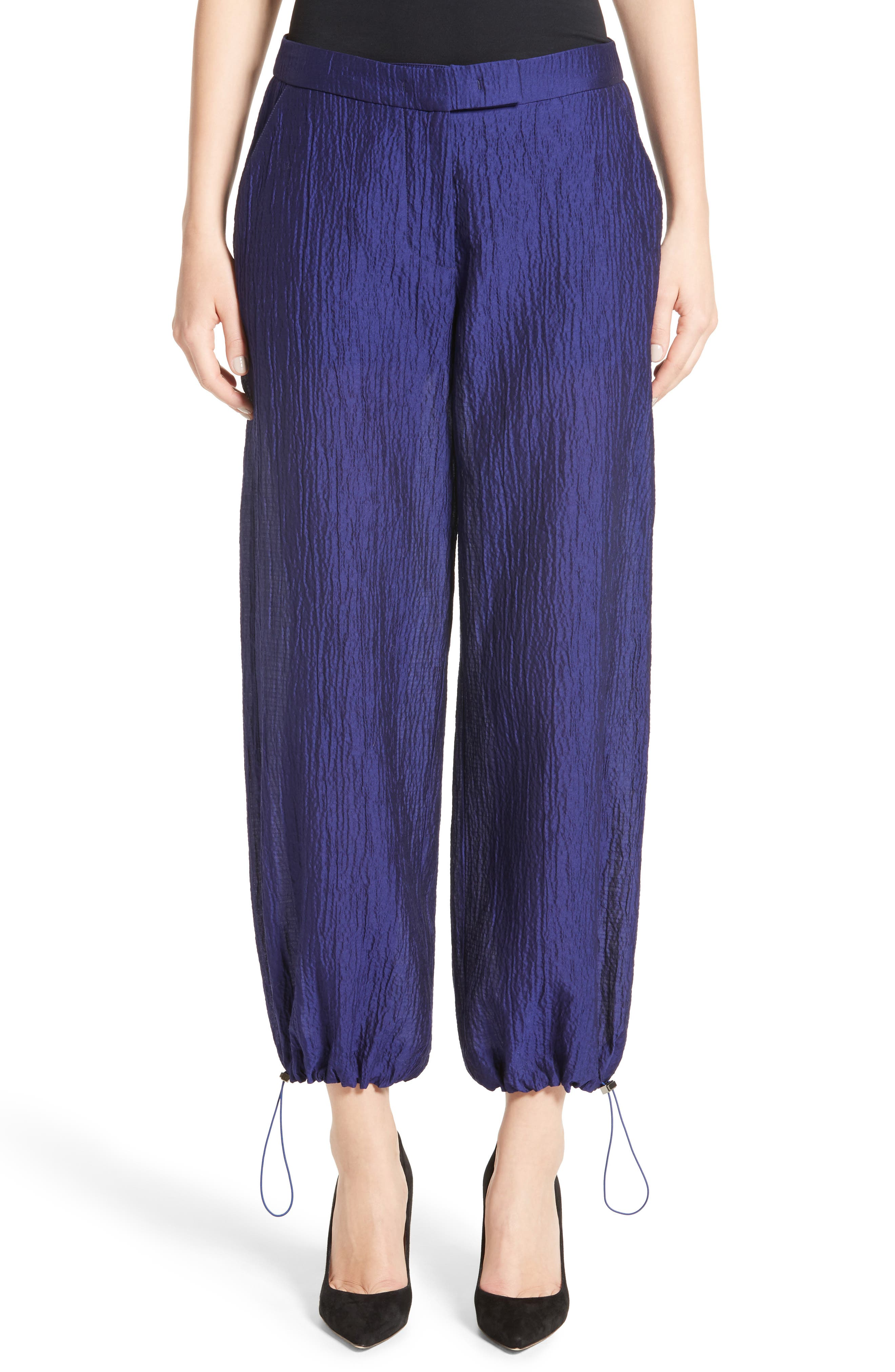 Armani Collezioni Crinkle Cotton & Silk Blend Pants