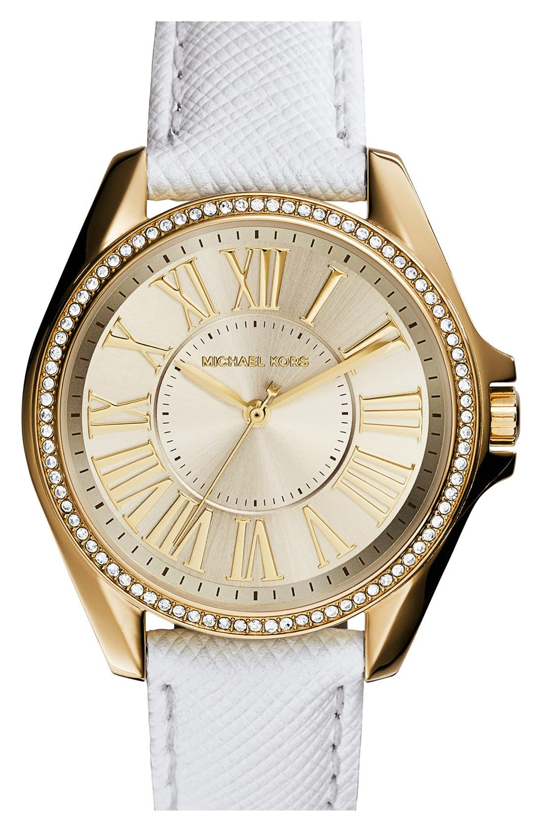 Main Image - Michael Kors 'Kacie' Crystal Bezel Leather Strap Watch, 39mm case