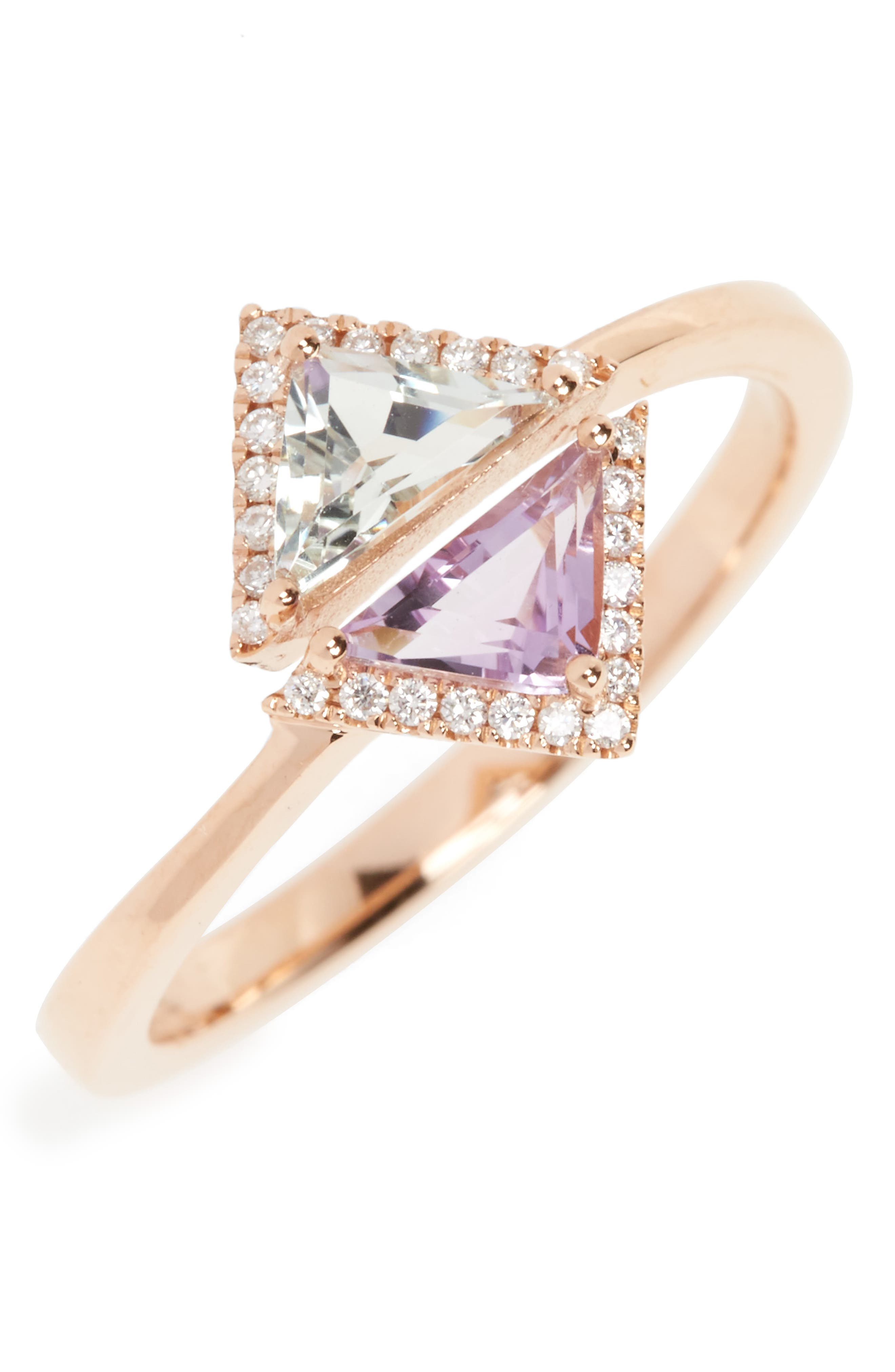 Alternate Image 1 Selected - Bony Levy Iris Double Triangle Diamond & Semiprecious Stone Ring (Nordstrom Exclusive)