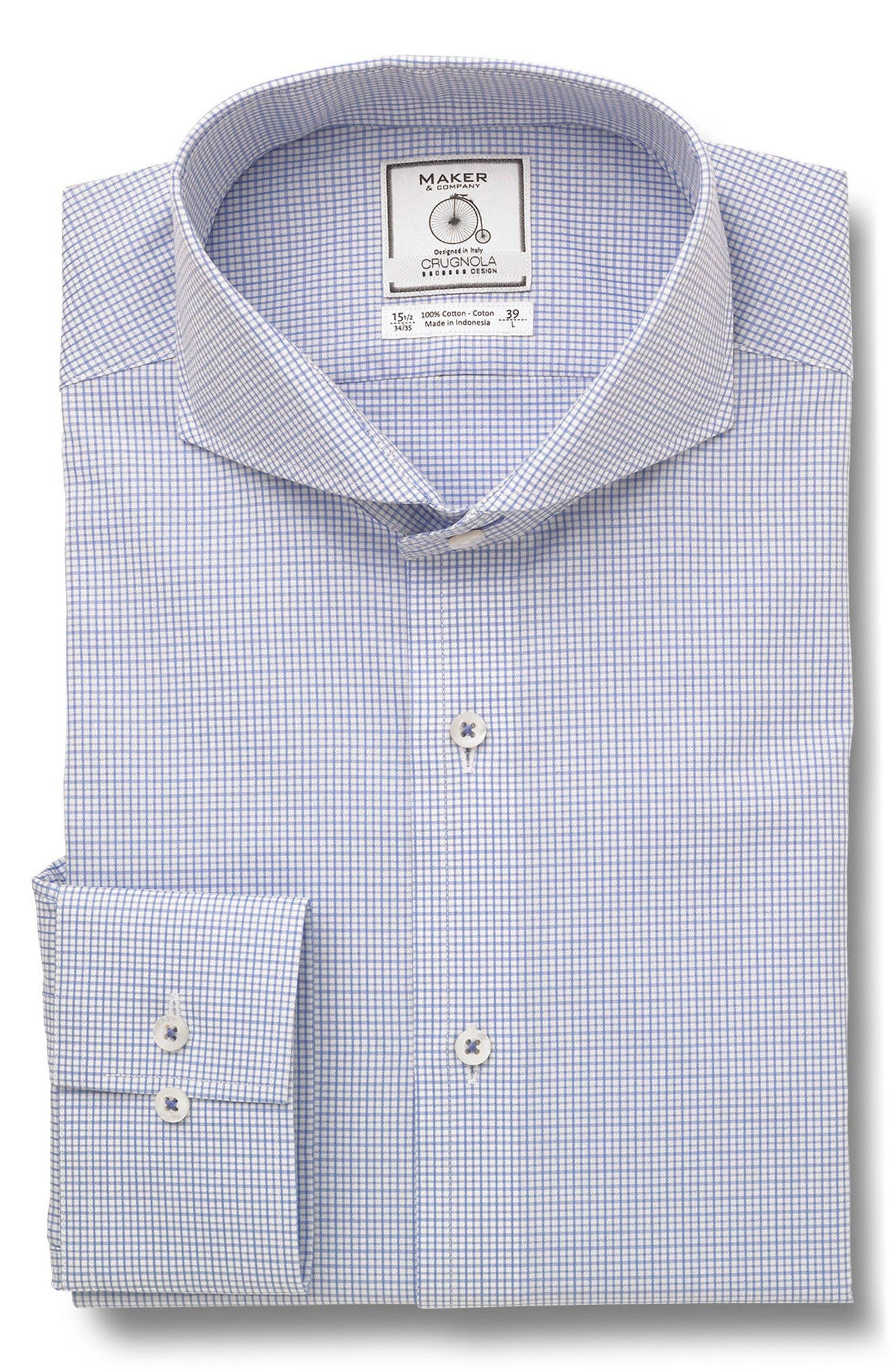 MAKER & COMPANY Trim Fit Check Dress Shirt
