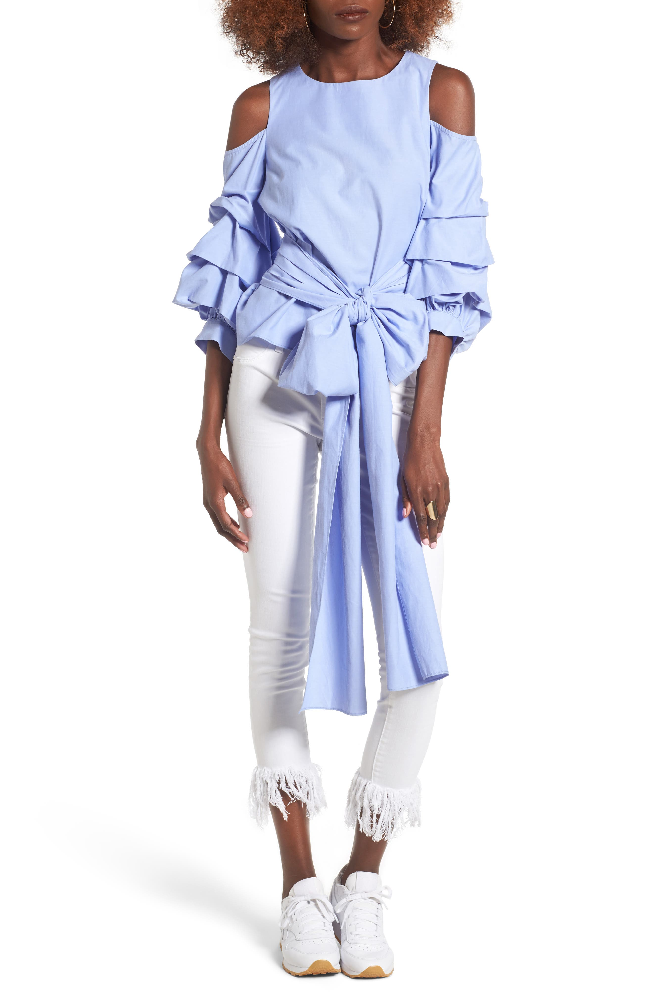 J.O.A. Ruffle Sleeve Tie Front Top