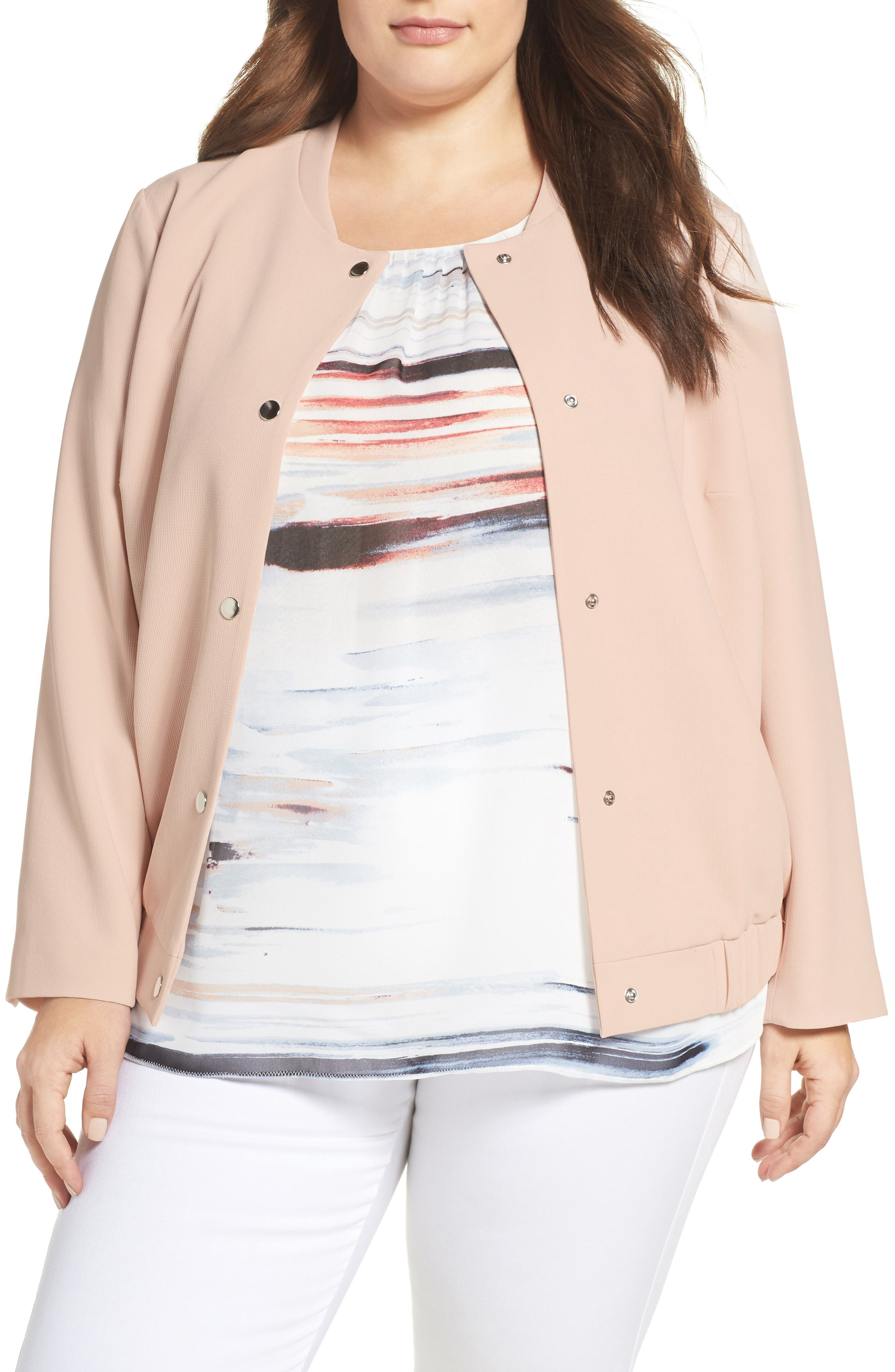 VINCE CAMUTO Snap Front Bomber Jacket