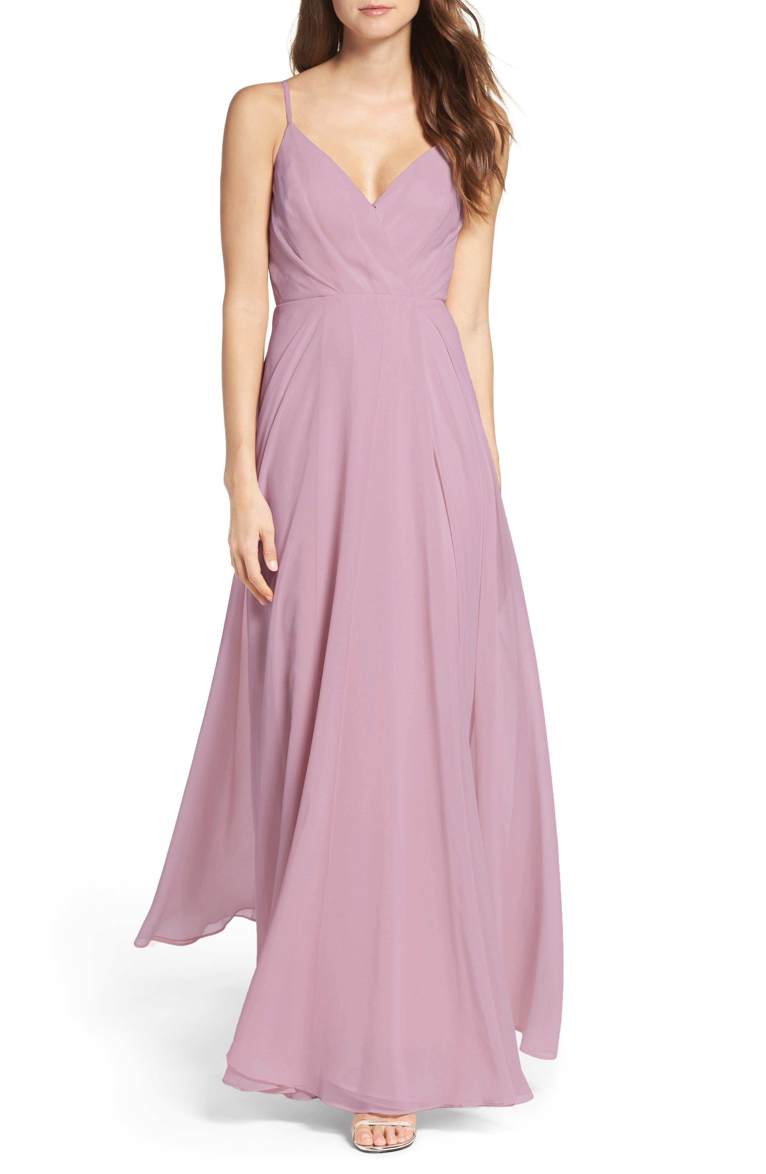 Alternate Image 1 Selected - Lulus Surplice Chiffon Gown