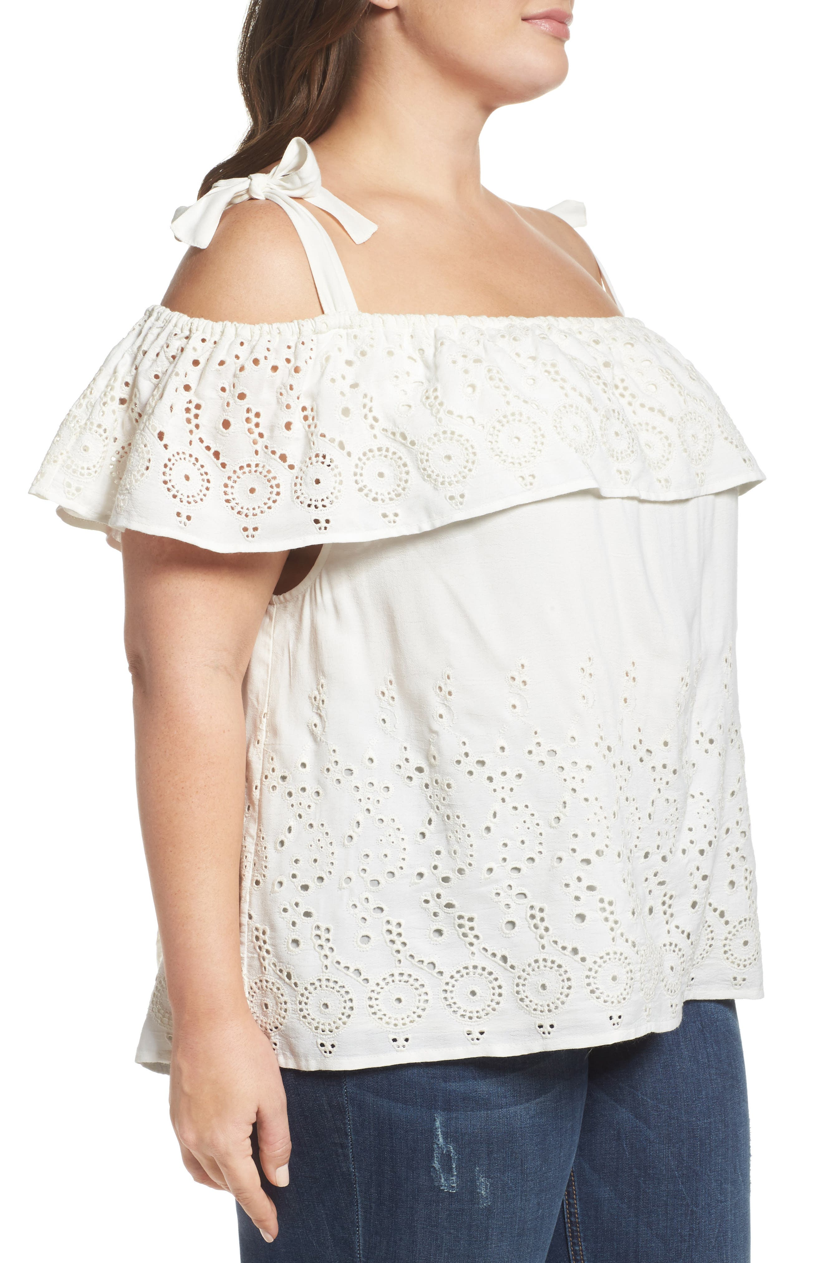 Alternate Image 3  - Lucky Brand Eyelet Embroidered Off the Shoulder Top (Plus Size)