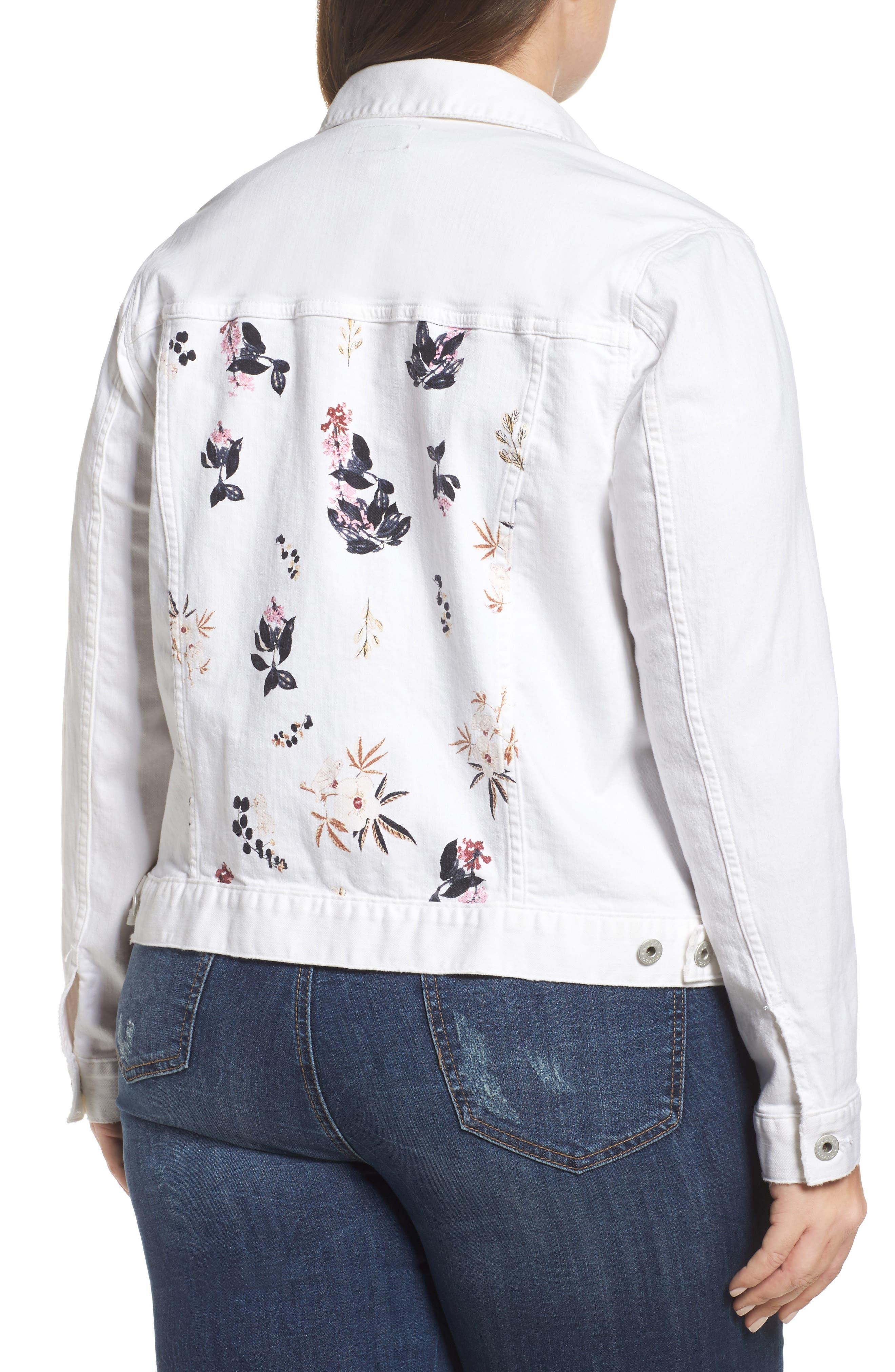 Alternate Image 2  - Lucky Brand Floral Trucker Jacket (Plus Size)