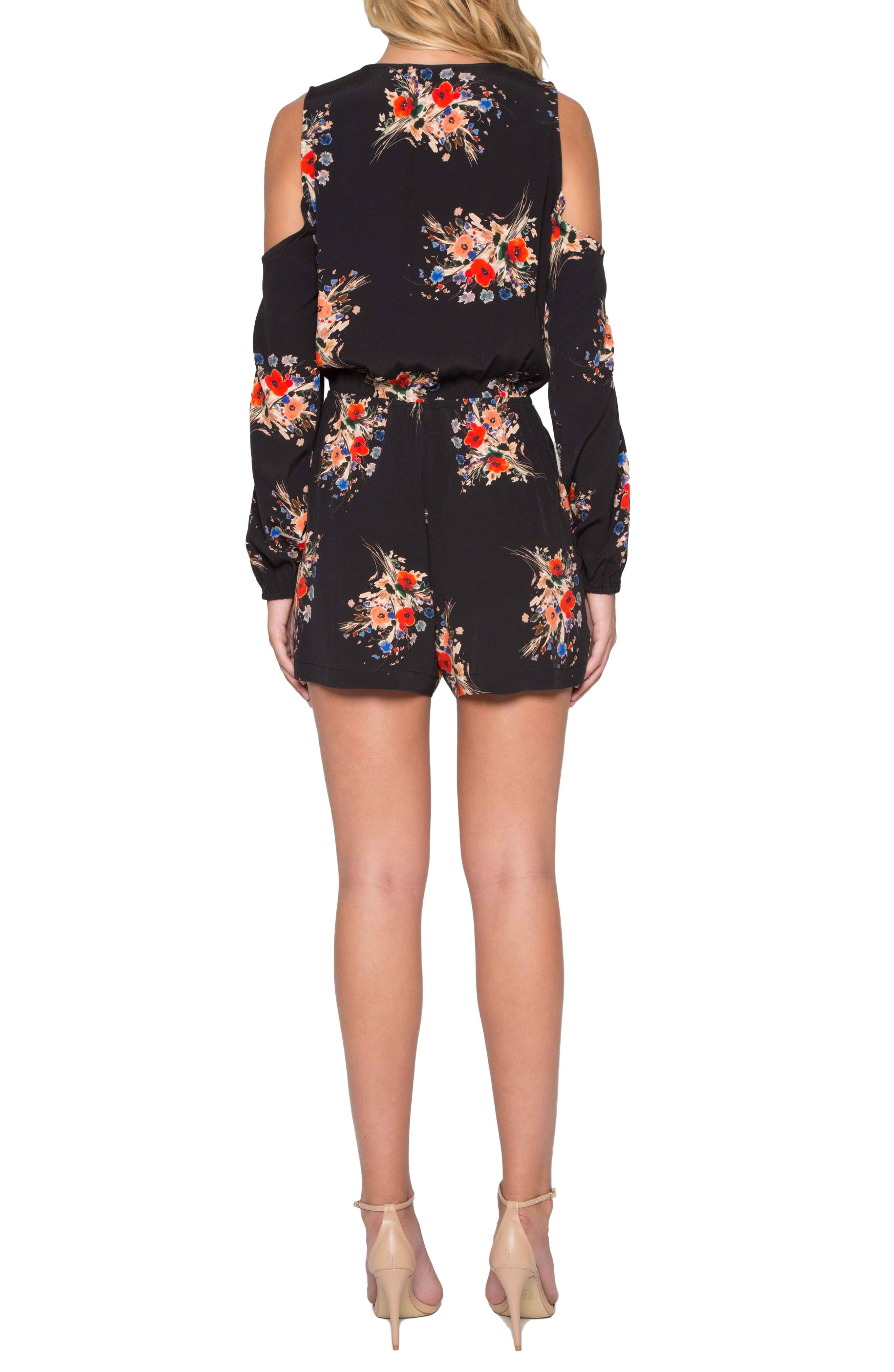 Alternate Image 2  - Willow & Clay Floral Cold Shoulder Romper