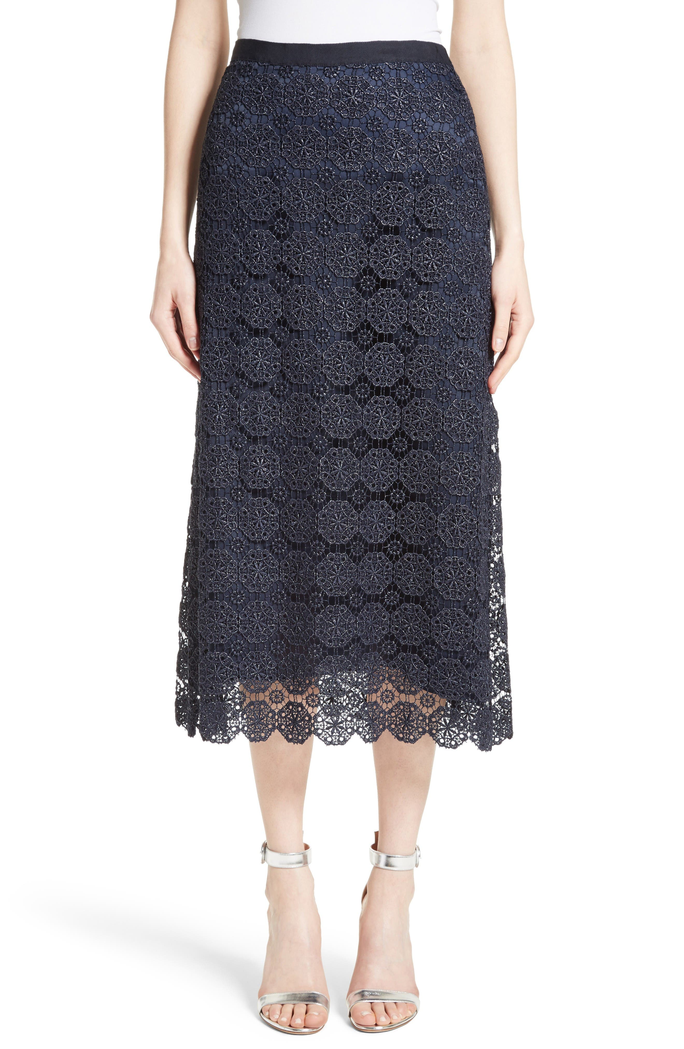 St. John Collection Metallic Guipure Lace Skirt
