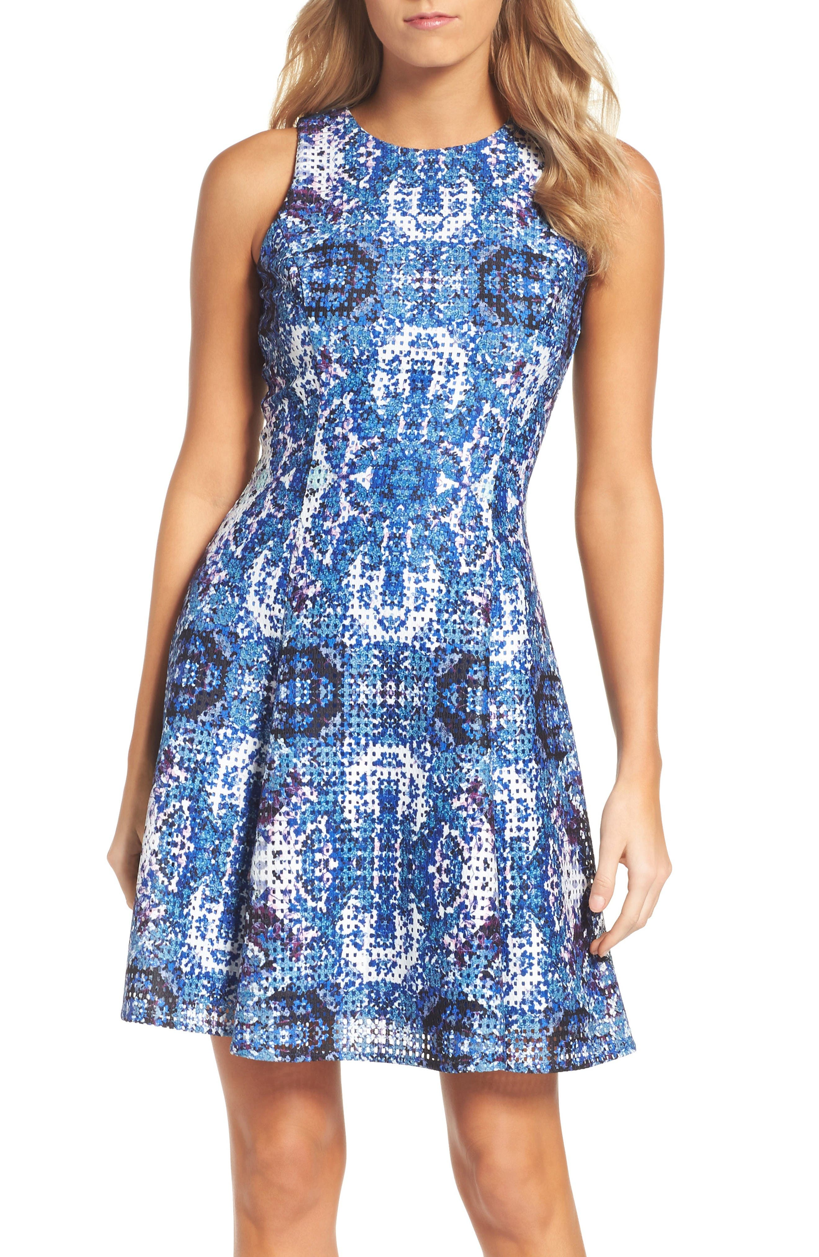 MAGGY LONDON Print Fit & Flare Dress