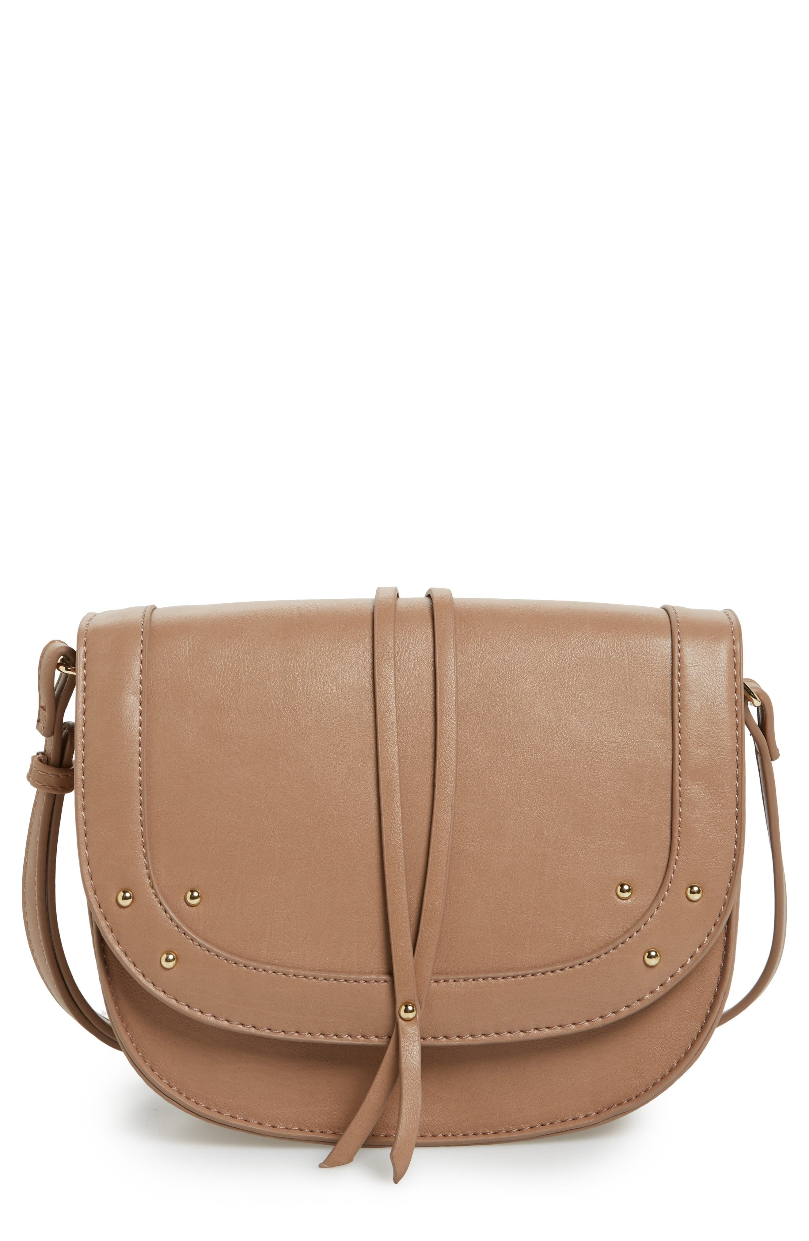 Alternate Image 1 Selected - Sole Society Faylina Studded Faux Leather Saddle Bag