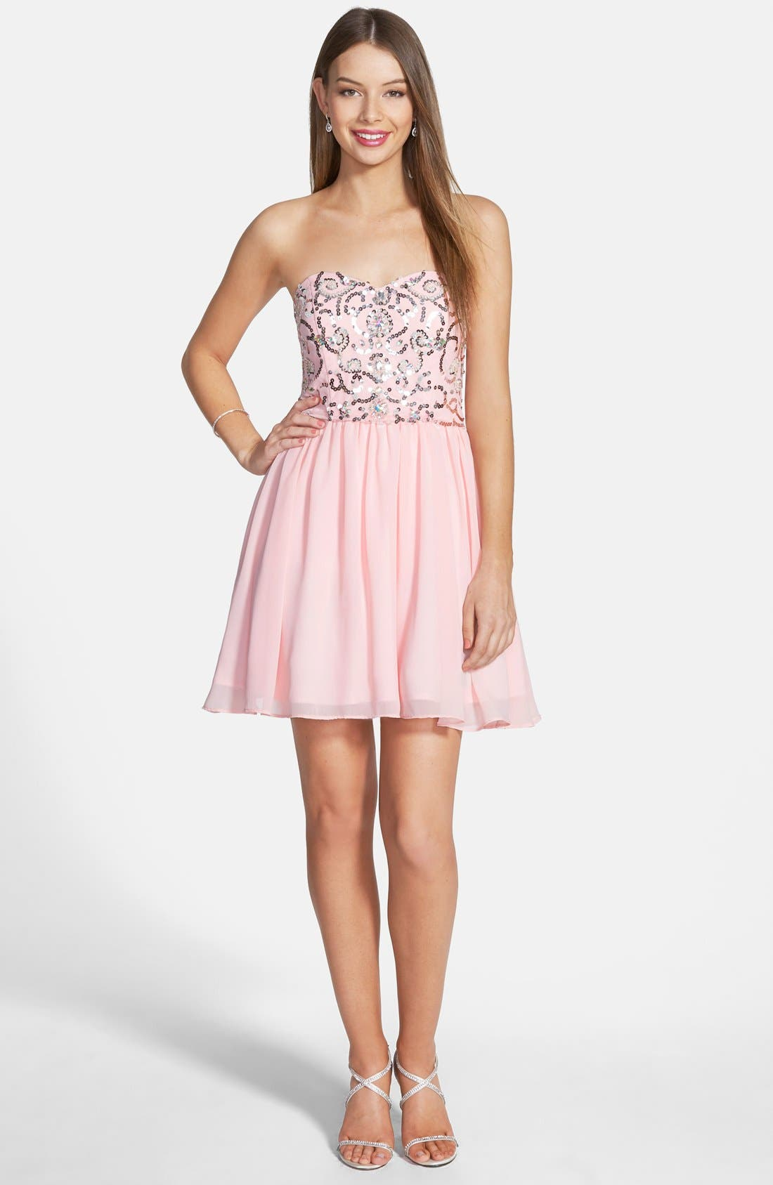 Main Image - Steppin Out Sequin Bodice Fit & Flare Dress (Juniors)