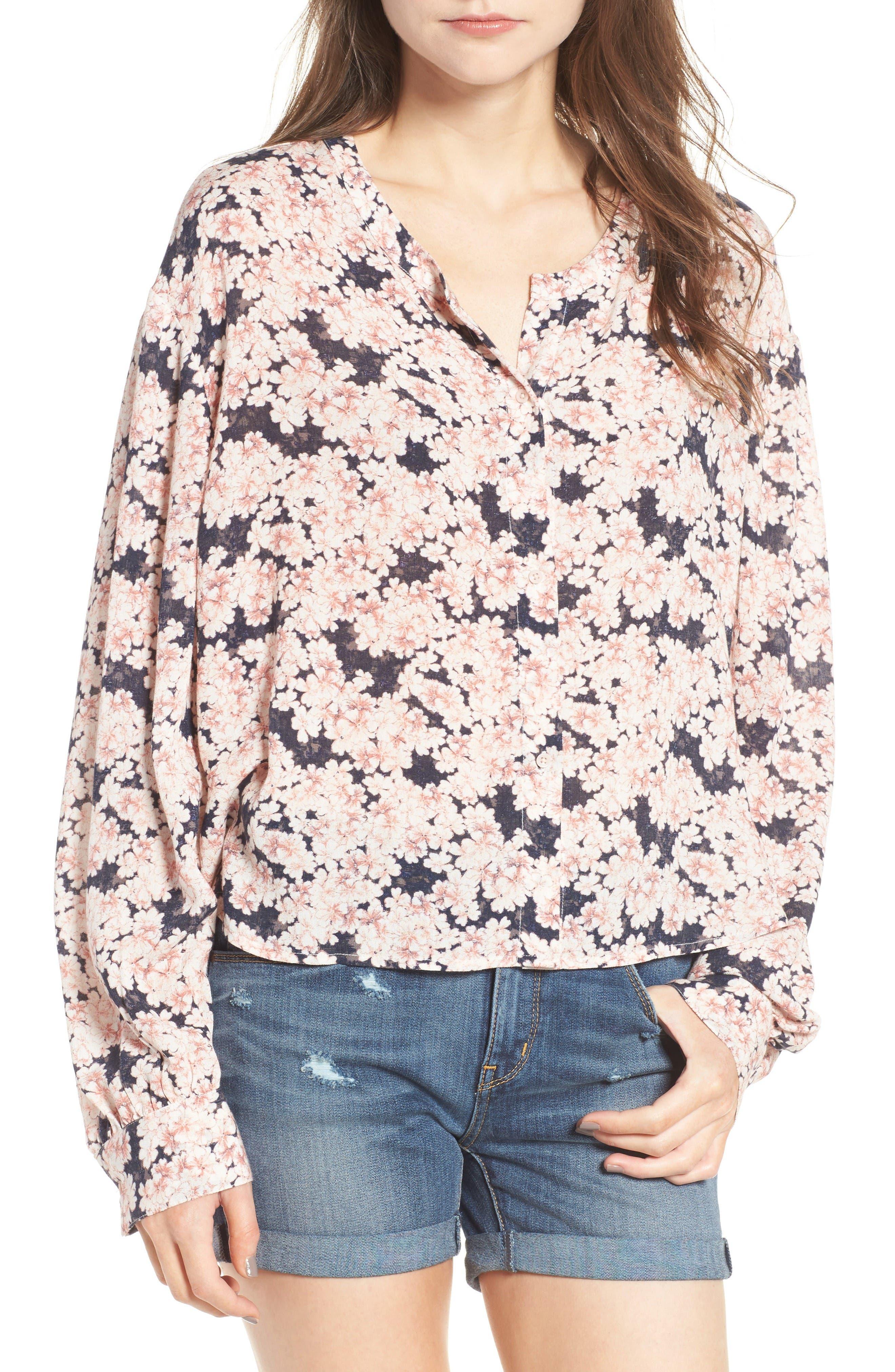 Main Image - Hinge Floral Print Oversize Blouse