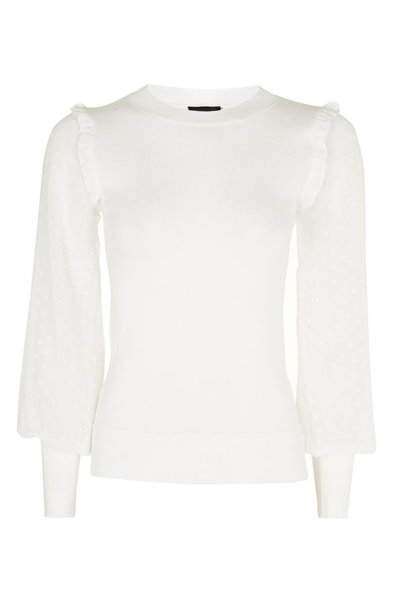 Alternate Image 4  - Topshop Chiffon Sleeve Sweater