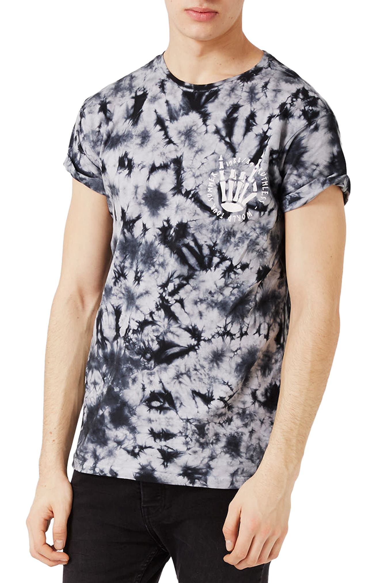 Alternate Image 1 Selected - Topman Ruthless Graphic Tie Dye T-Shirt