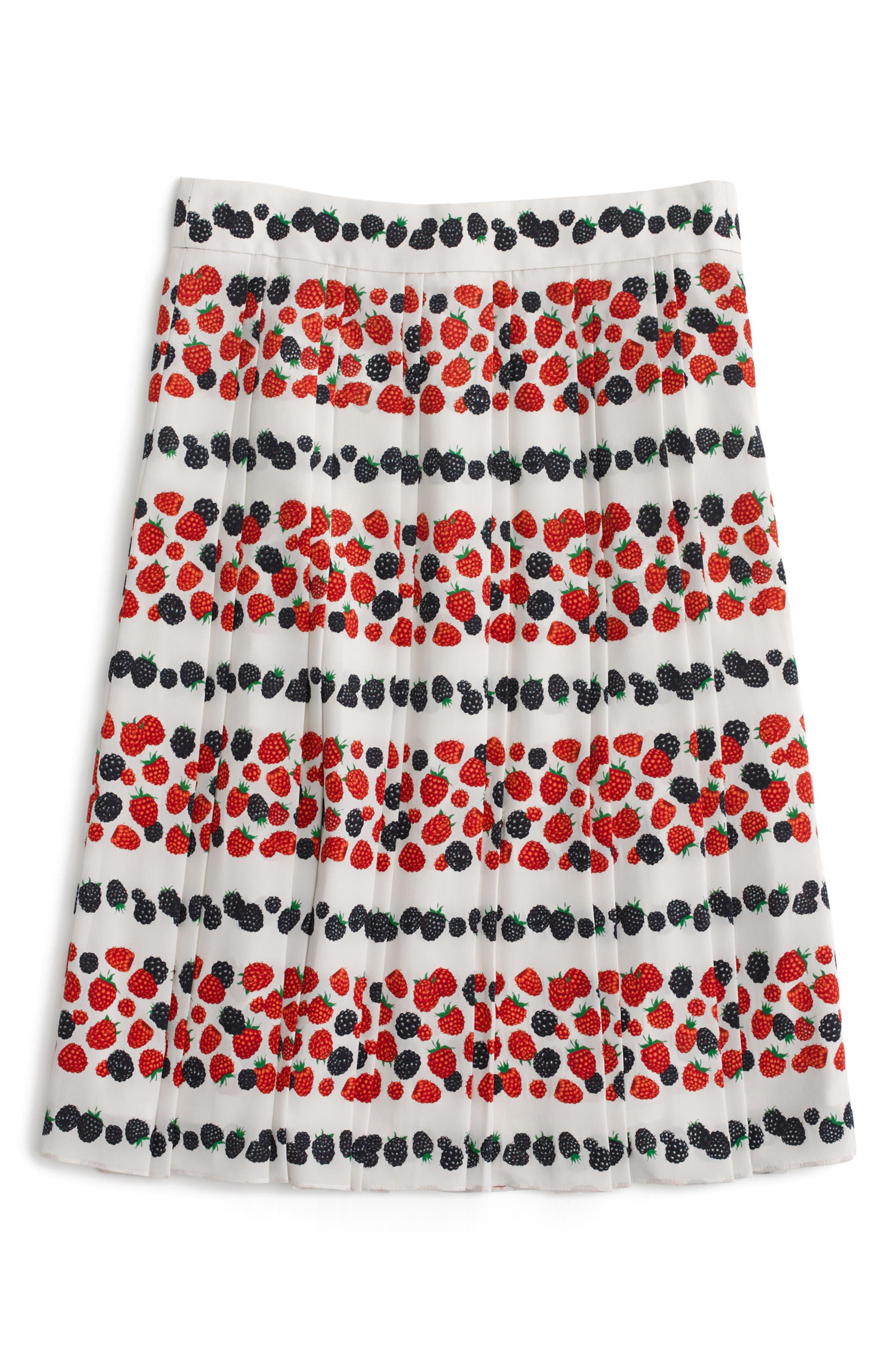 Alternate Image 4  - J.Crew Berry Print Pleat Skirt