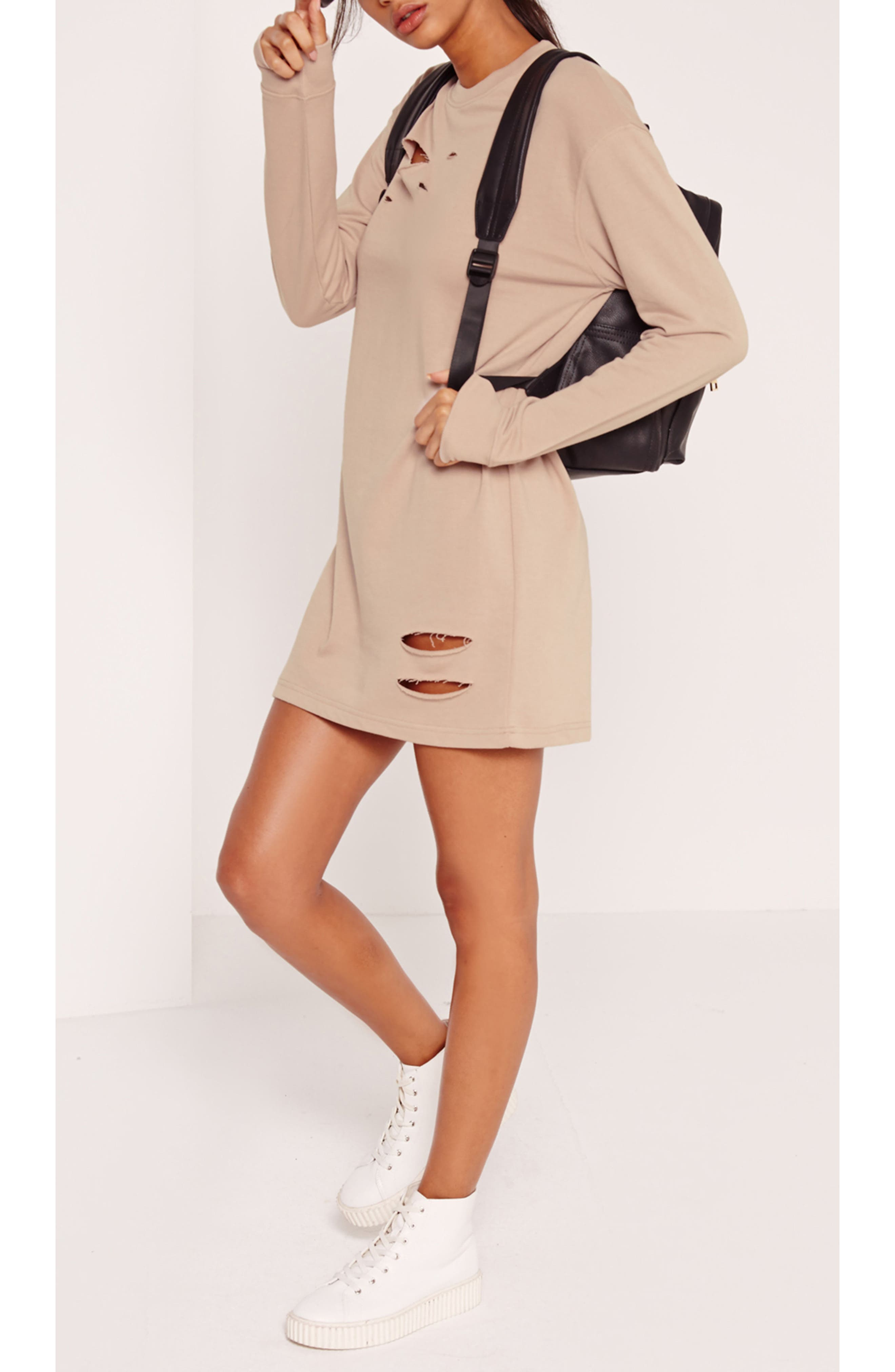 Alternate Image 5  - Missguided Ripped Oversize Knit Dress