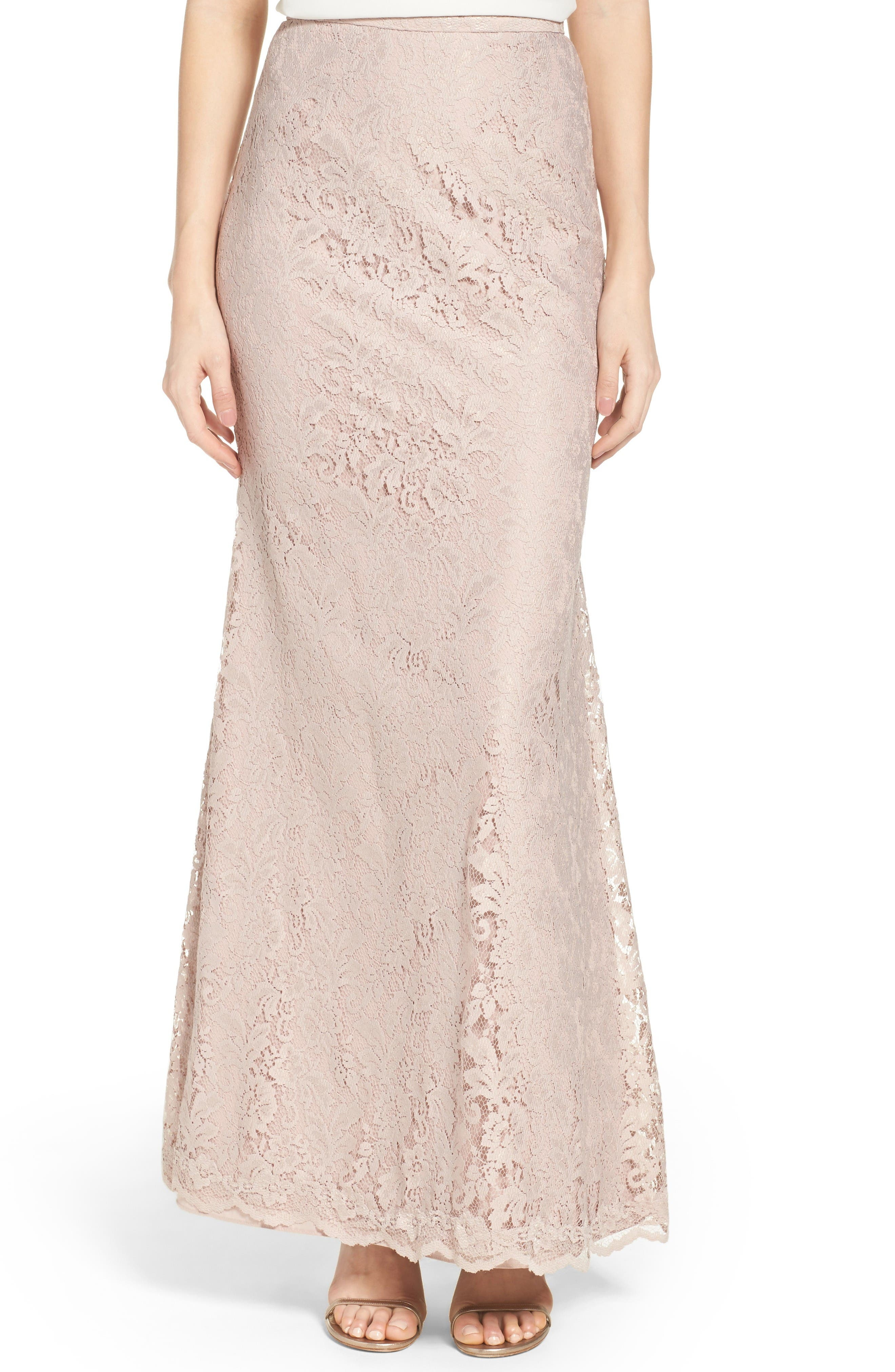 Watters Esme Fit-and-Flare Lace Skirt