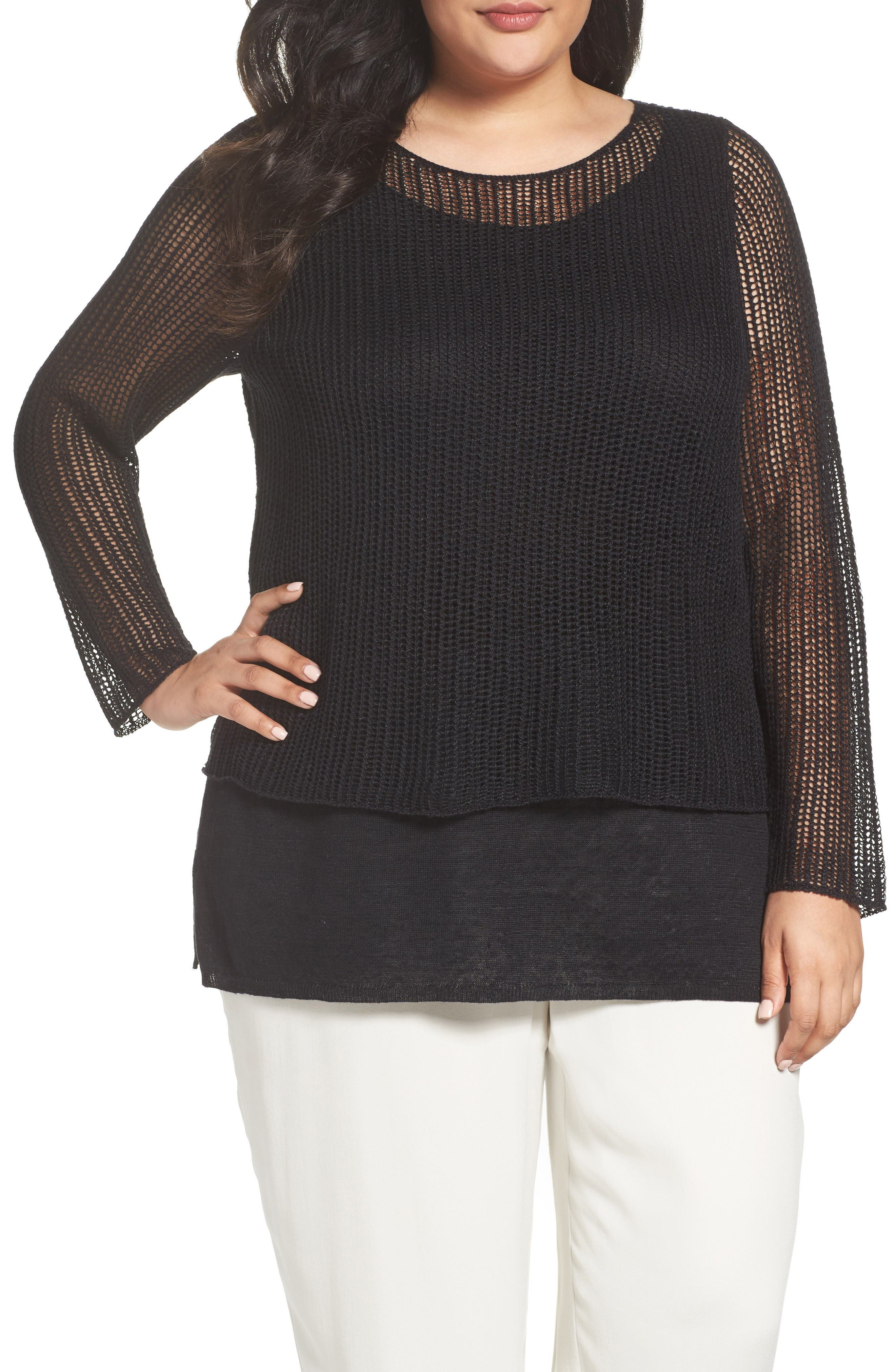 Eileen Fisher Organic Linen Tiered Sweater (Plus Size)