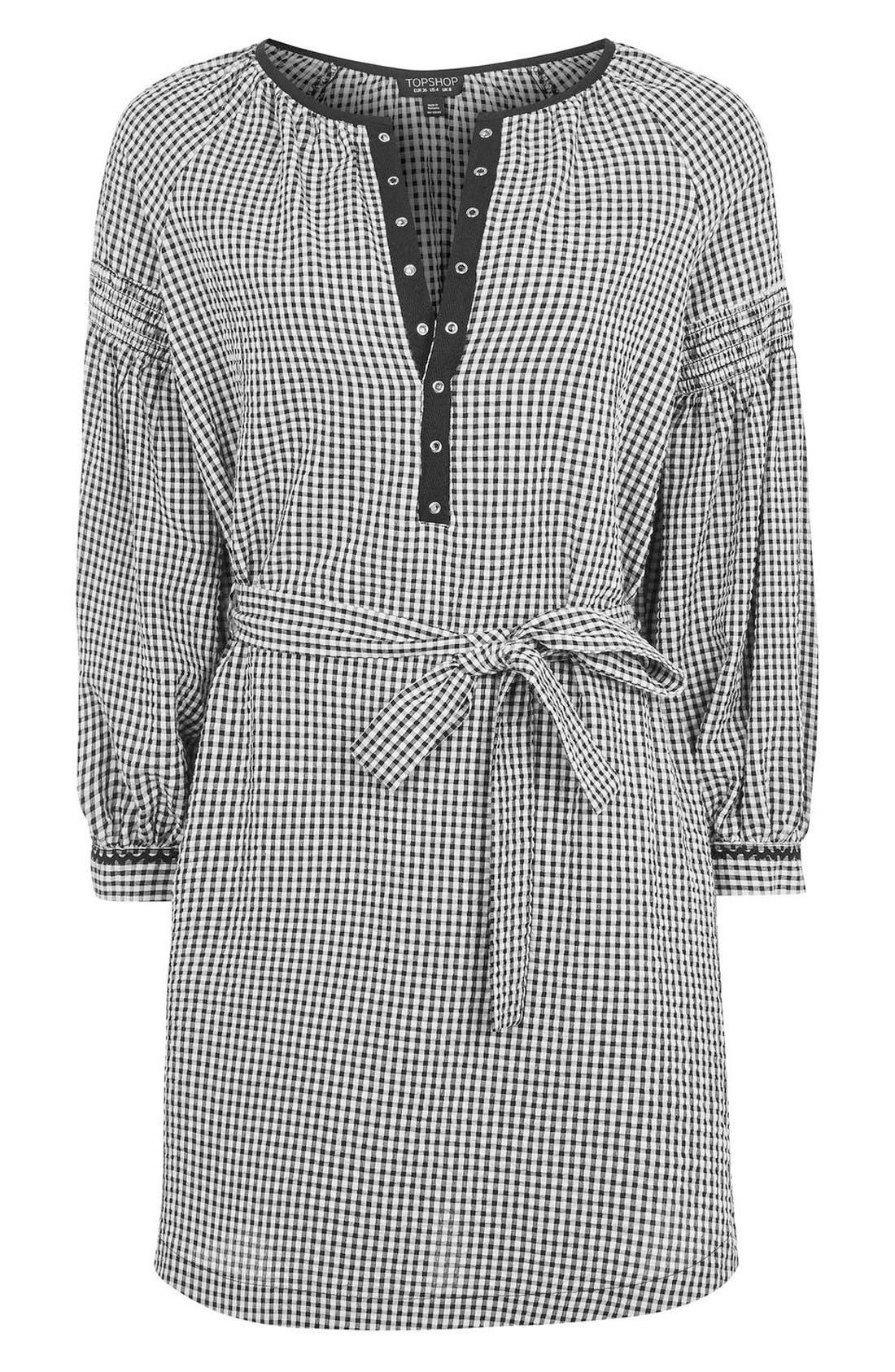 Alternate Image 4  - Topshop Gingham Smock Dress