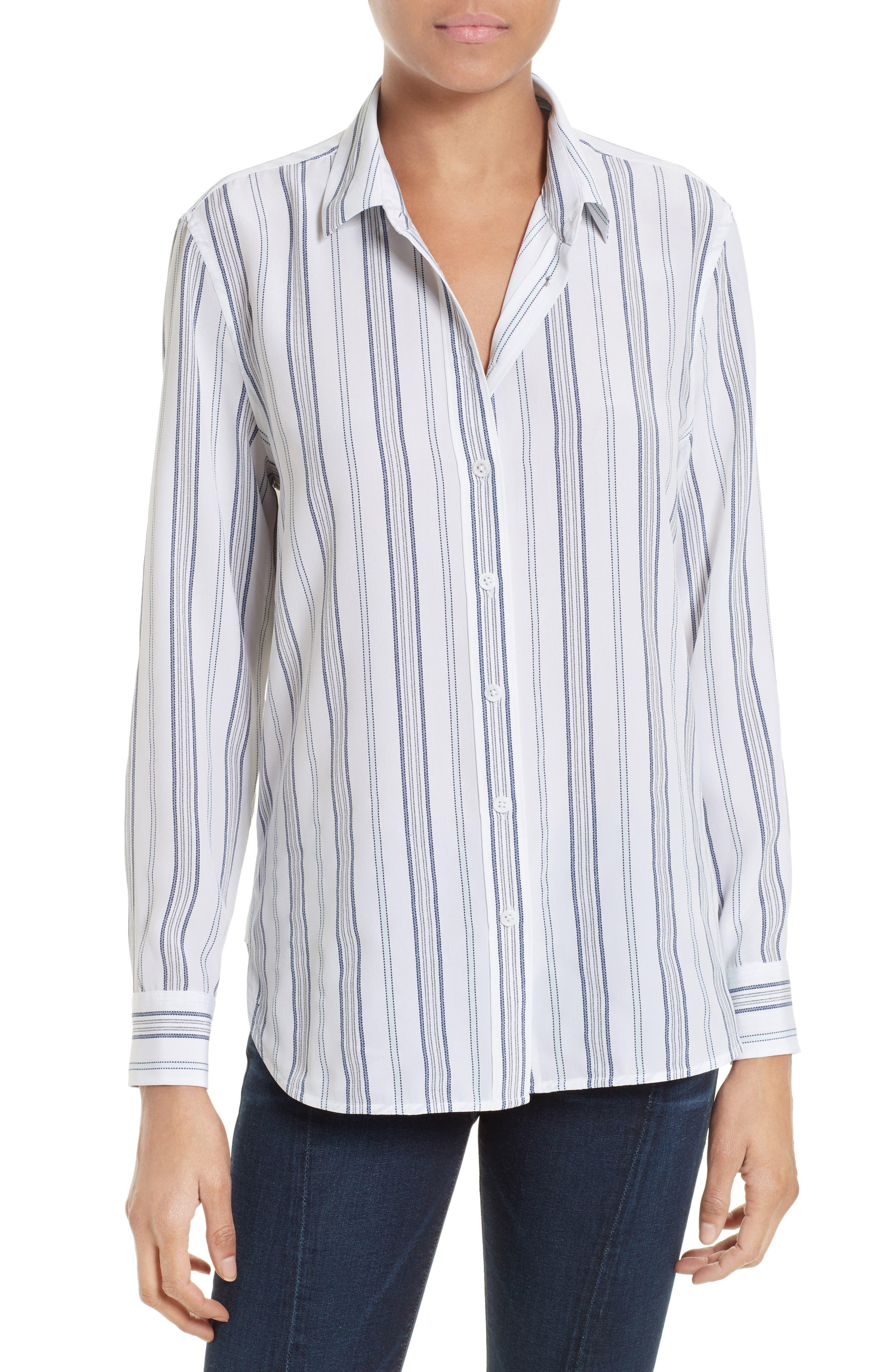Equipment Leema Stripe Silk Shirt