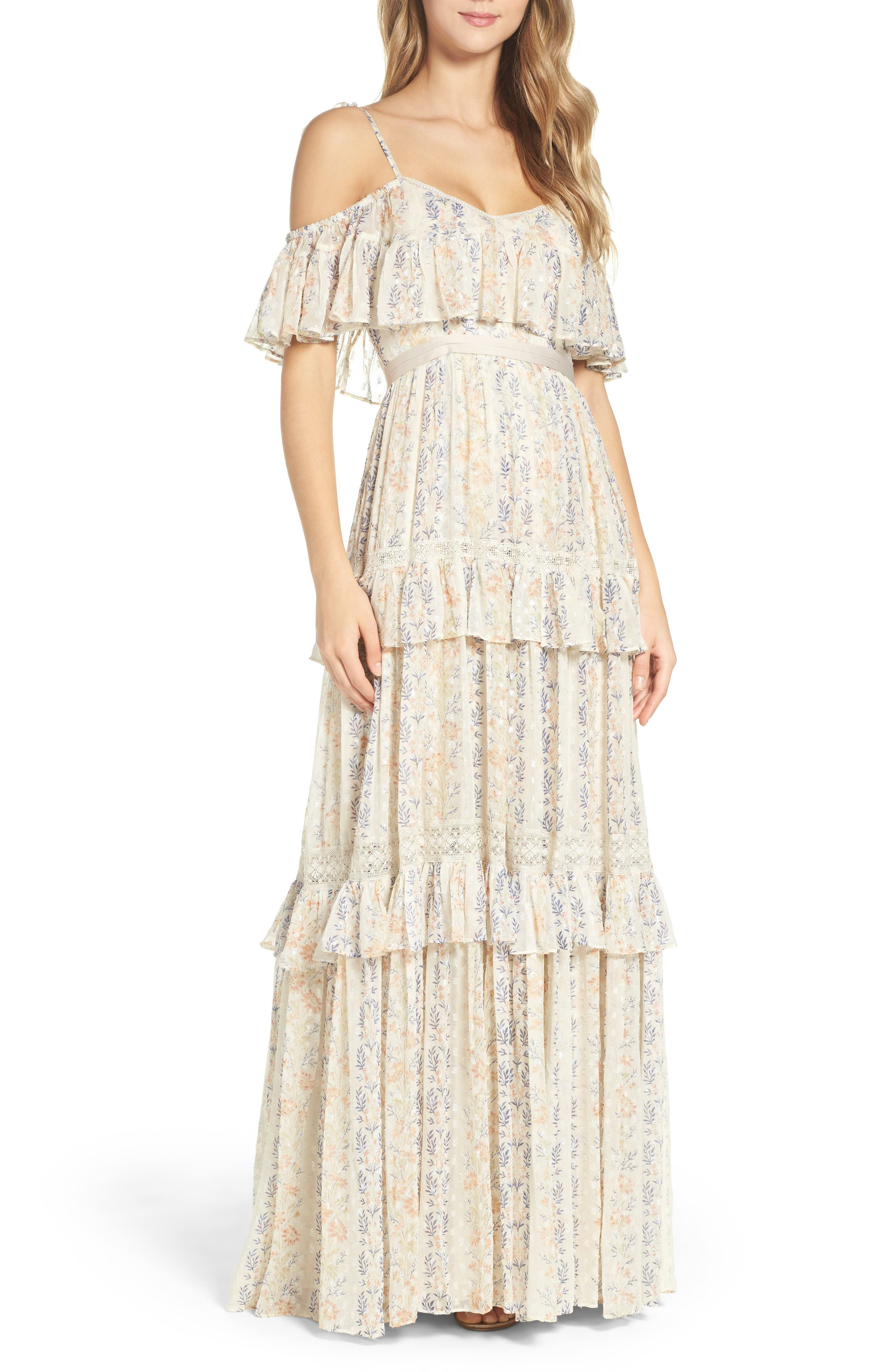 Main Image - Needle & Thread Cold Shoulder Tiered Gown