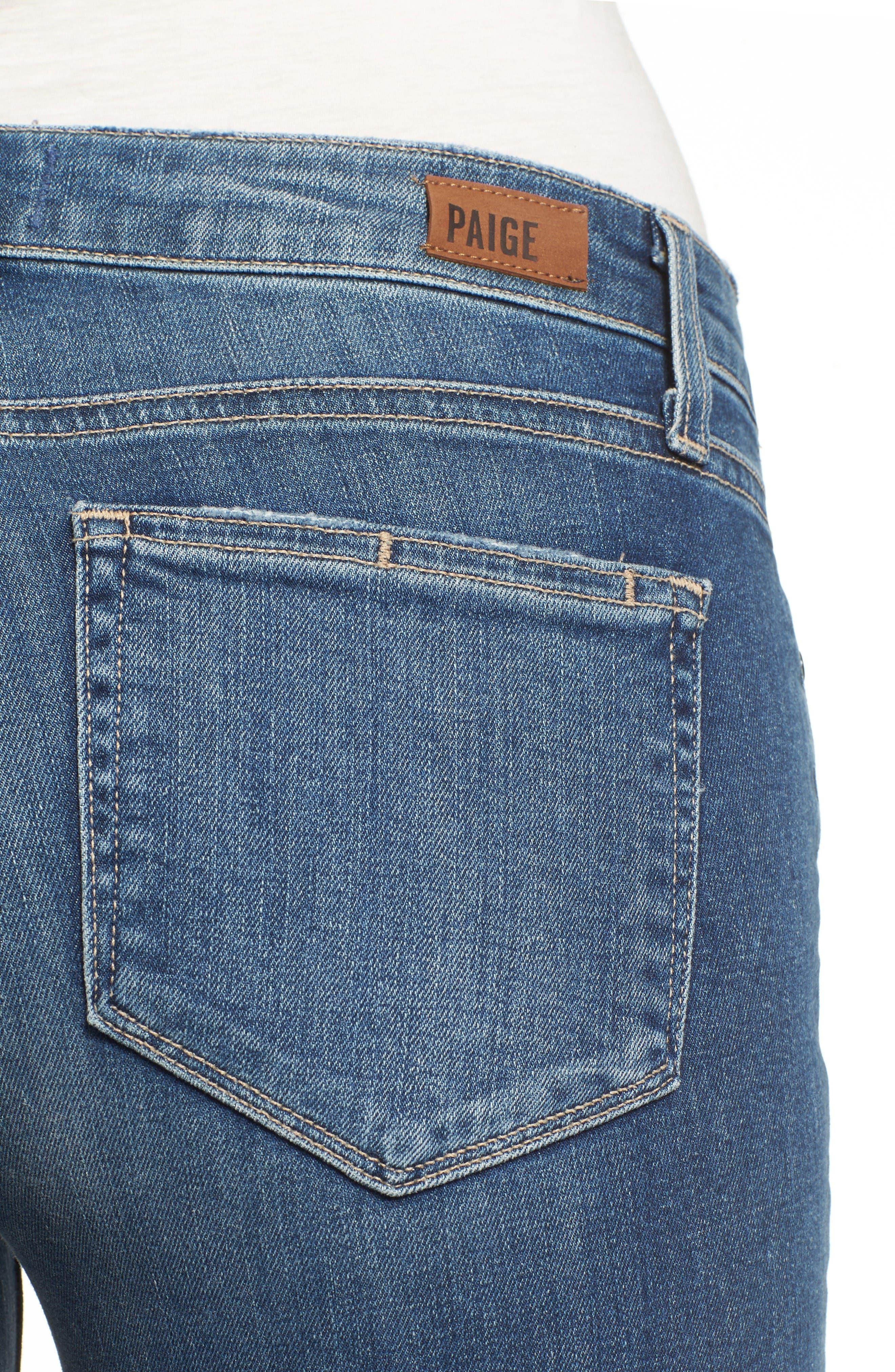Alternate Image 4  - PAIGE Miki Crop Straight Leg Jeans (Destructed Blue)