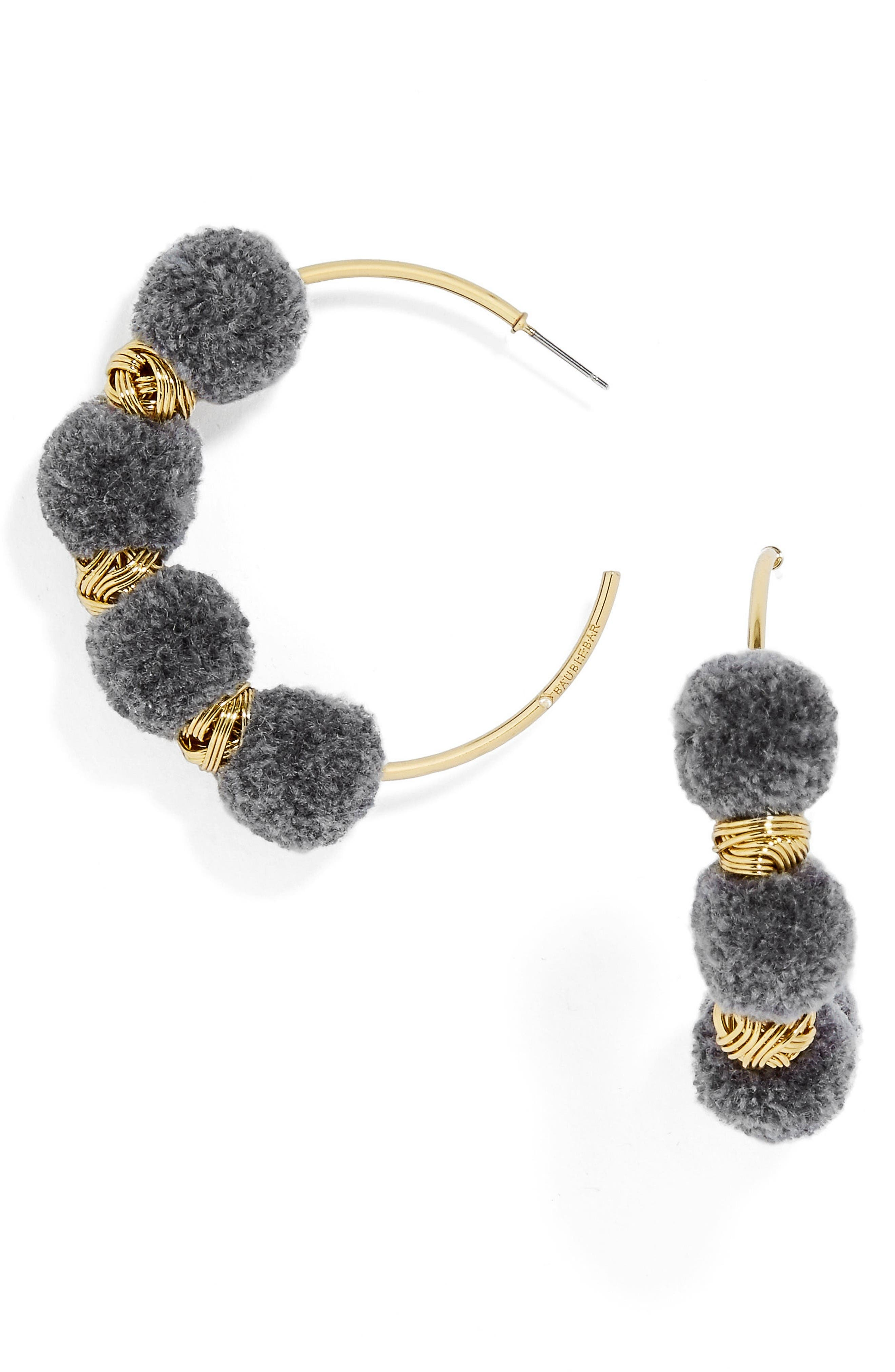 Alternate Image 1 Selected - BaubleBar Curacao Pompom Hoop Earrings