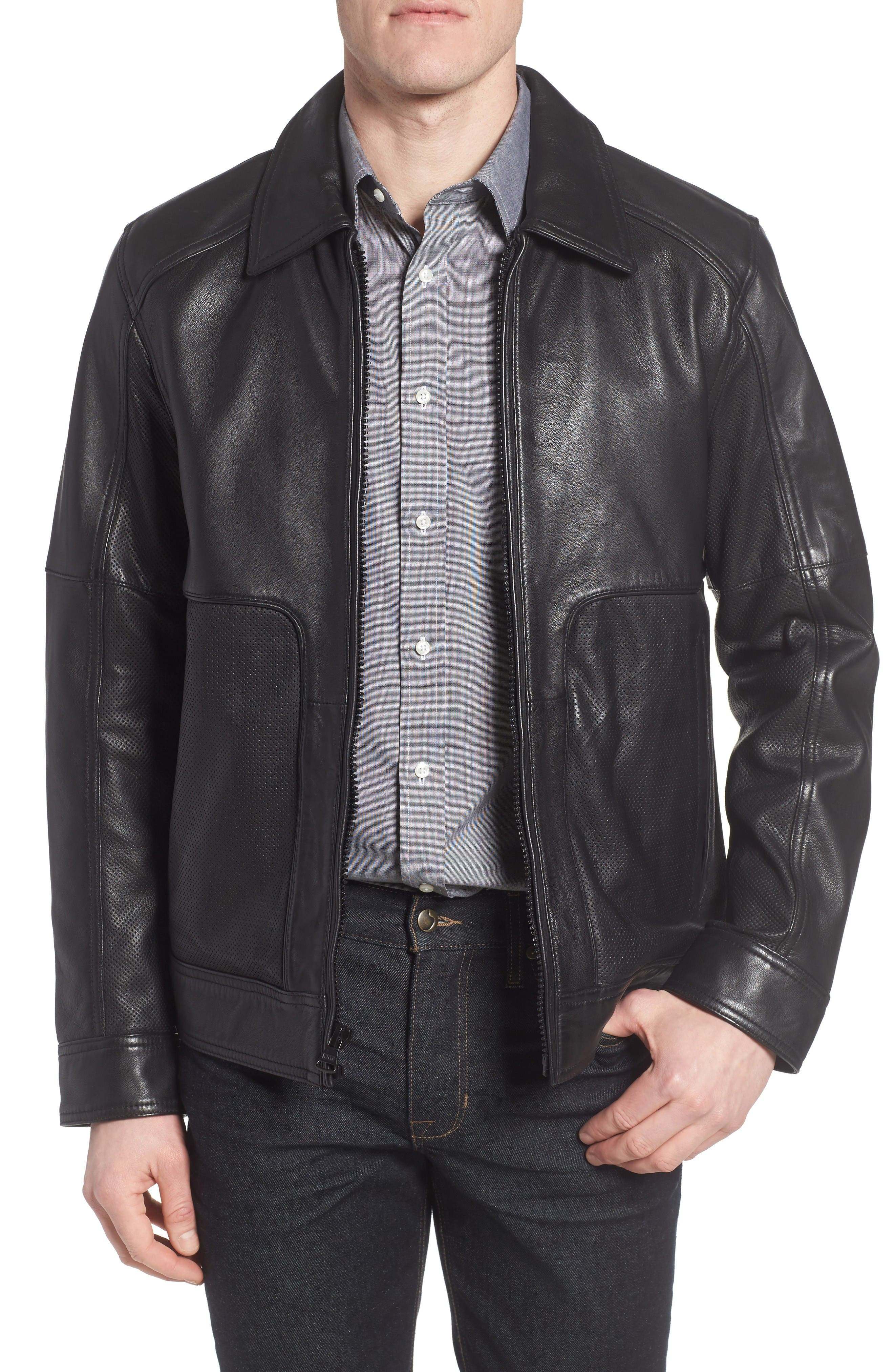Marc New York by Andrew Marc Herrod Perforated Leather Jacket