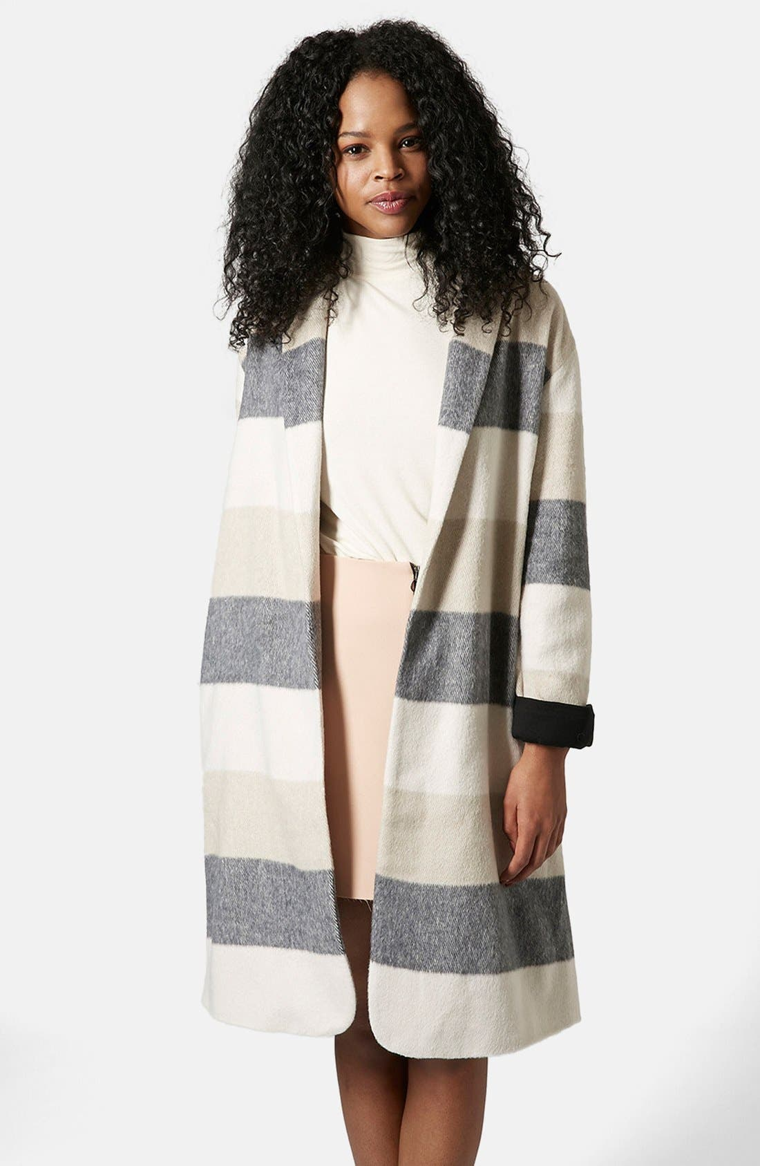 Alternate Image 1 Selected - Topshop Stripe Open Front Duster
