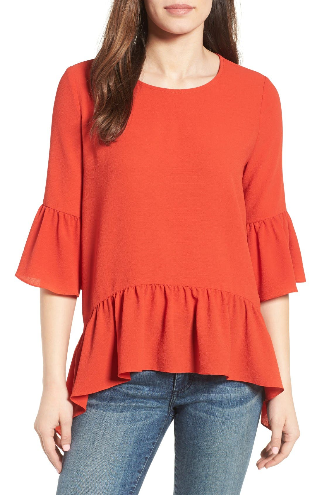 Alternate Image 1 Selected - Gibson Ruffled Handkerchief Hem Top (Regular & Petite)