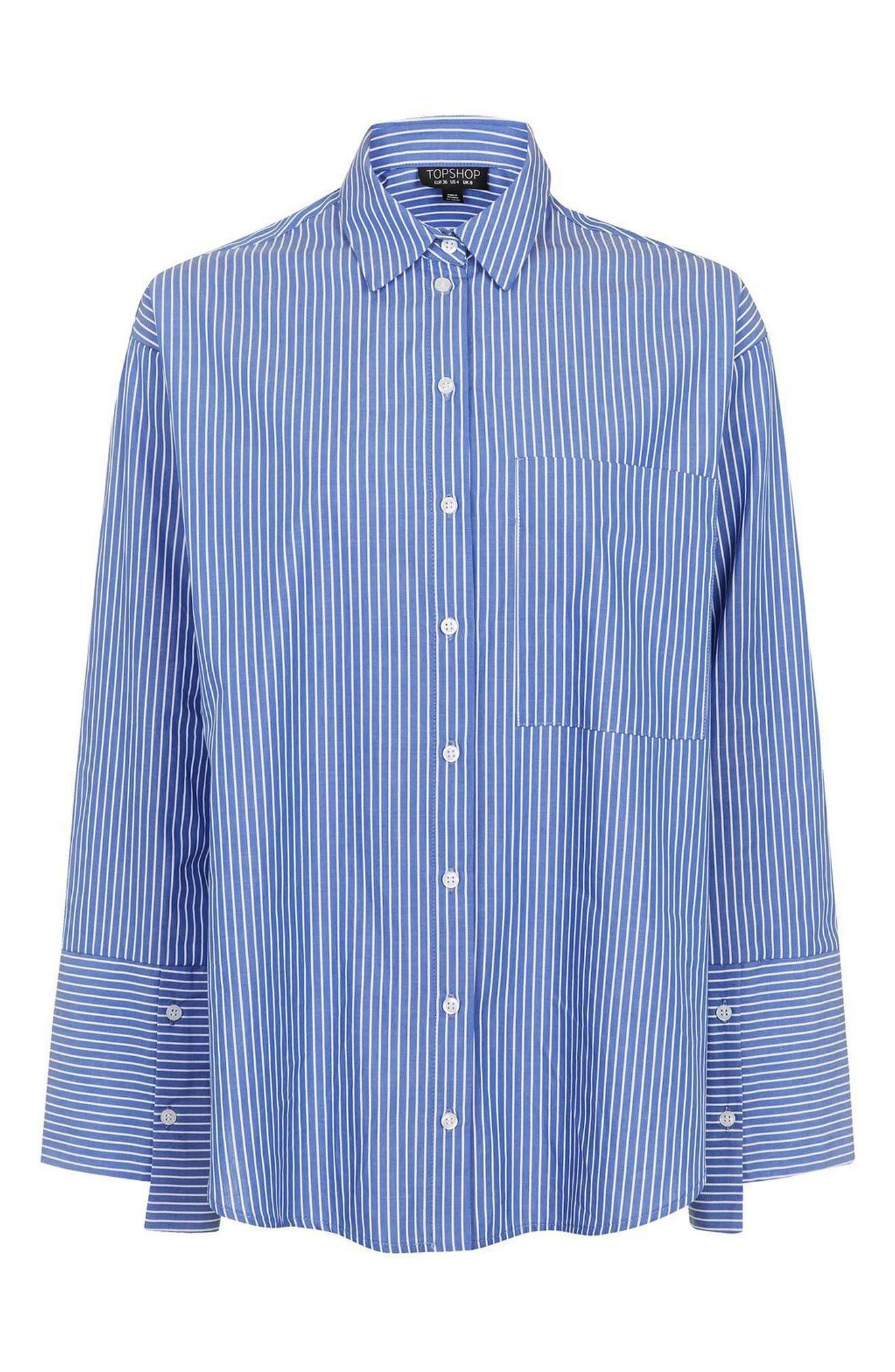 Alternate Image 4  - Topshop Deep Cuff Stripe Shirt