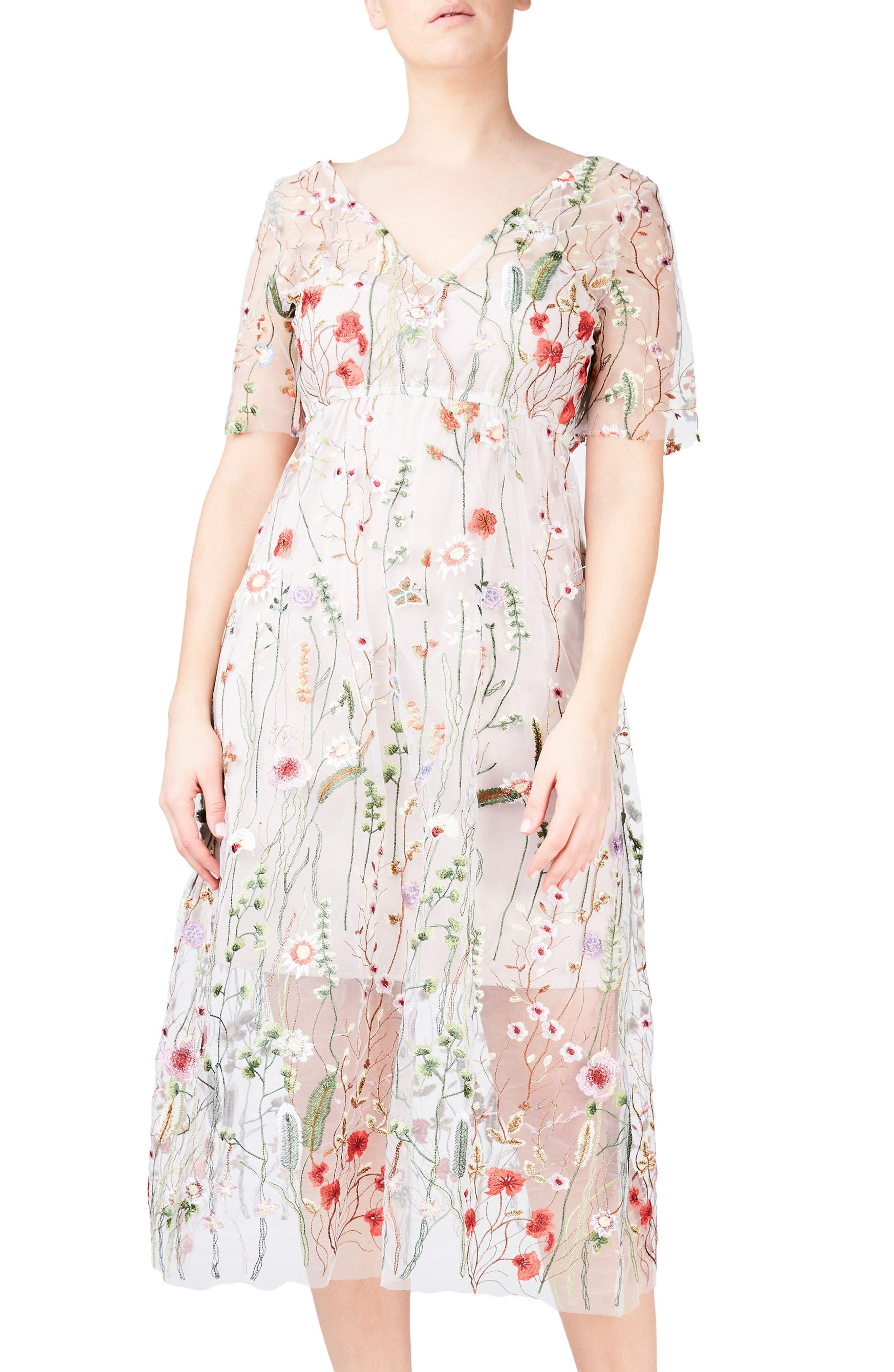 Alternate Image 1 Selected - ELVI Floral Embroidered Floral Net Dress (Plus Size)