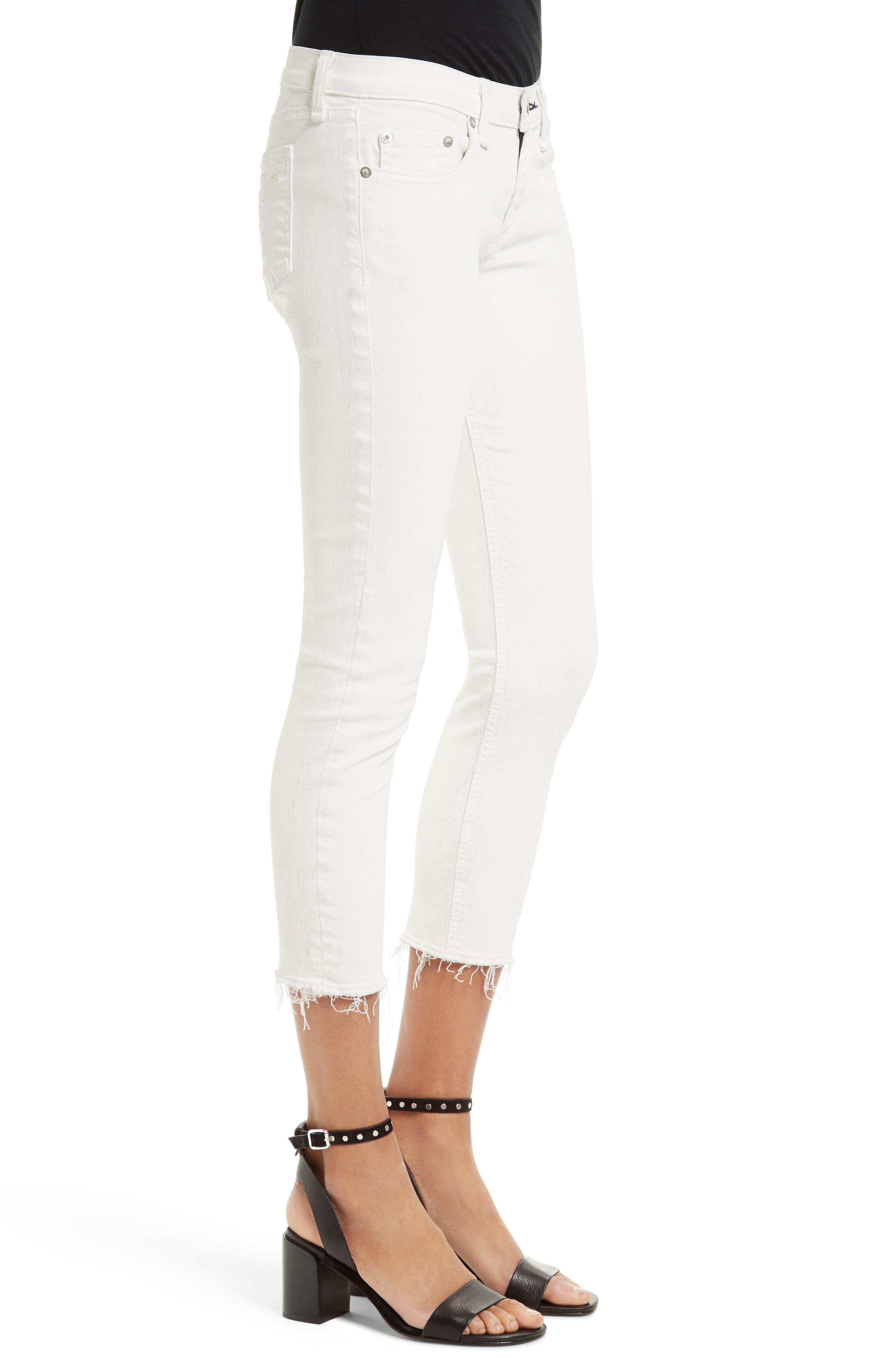 Alternate Image 3  - rag & bone/JEAN Capri Skinny Jeans (Blanc with Fray)