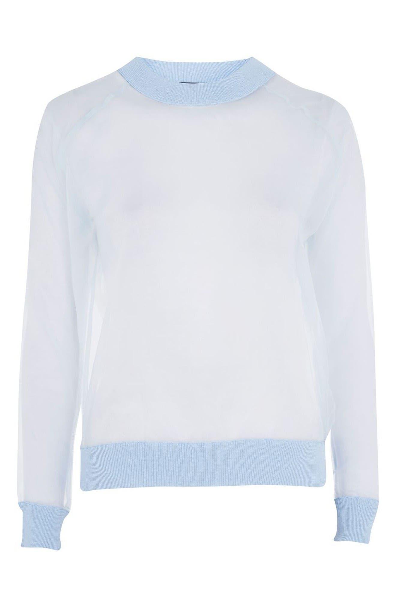 Alternate Image 4  - Topshop Sheer Sweatshirt
