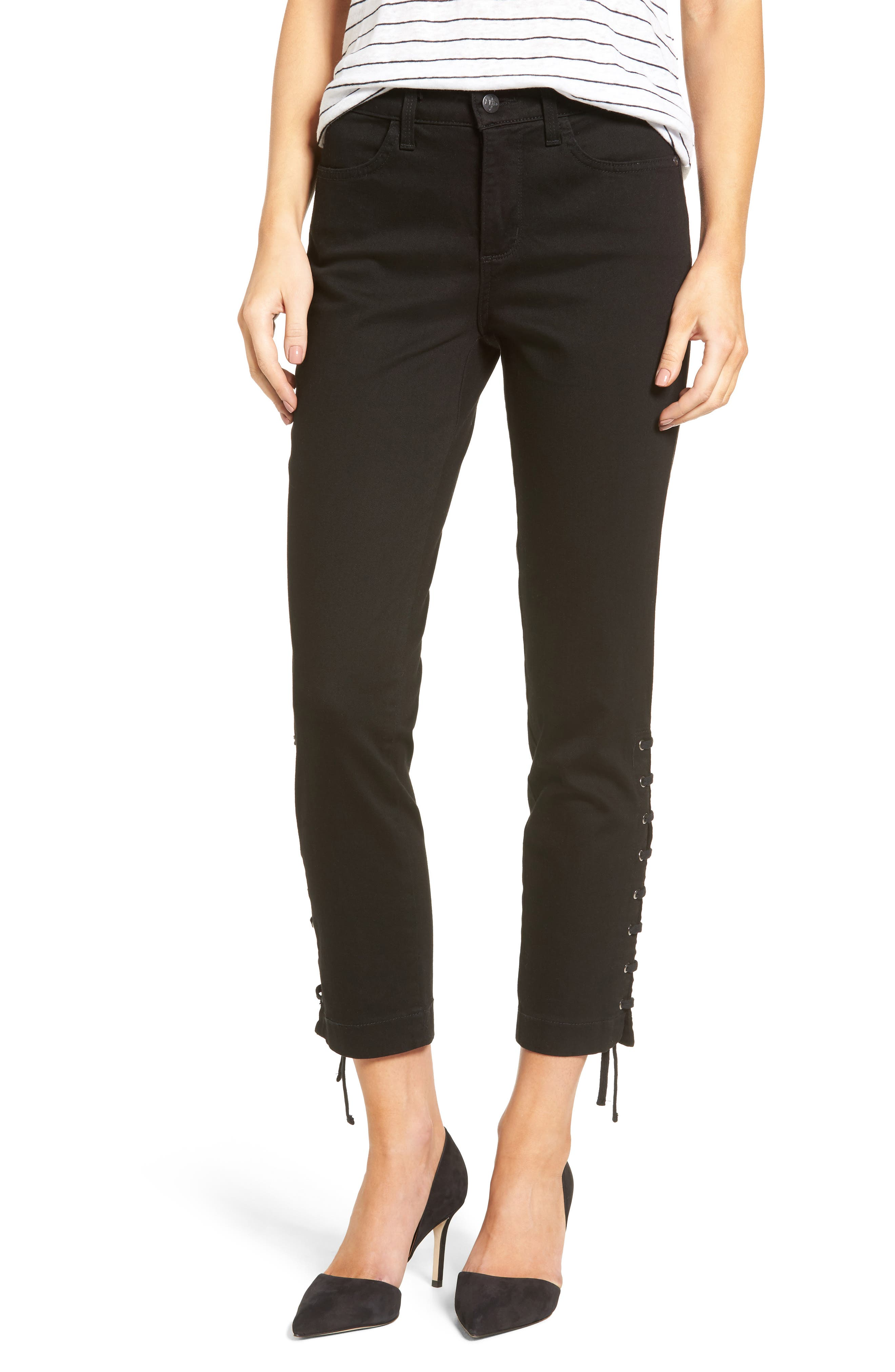 NYDJ Lace-Up Stretch Ankle Pants