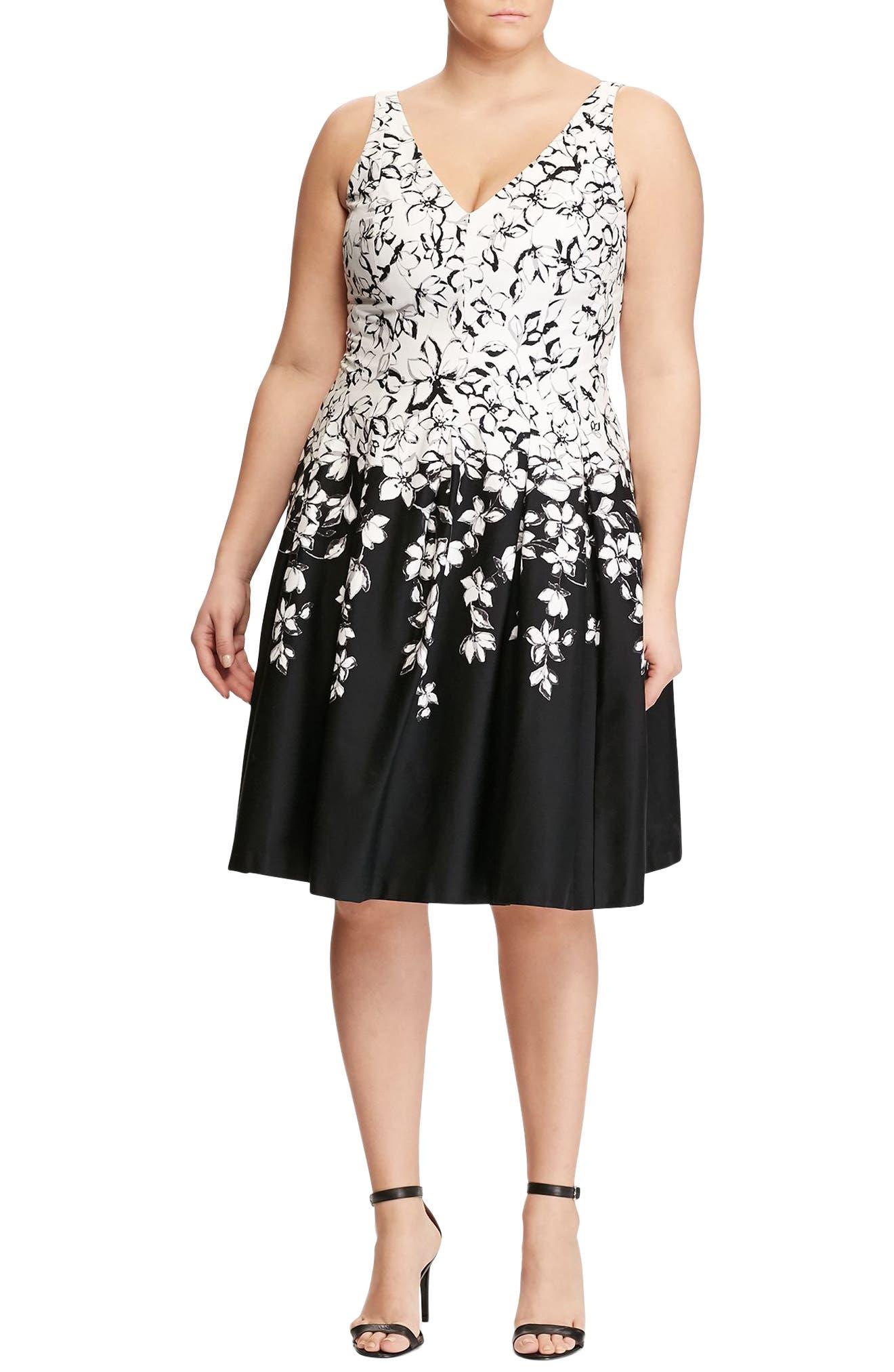 Lauren Ralph Lauren Border Print Fit & Flare Dress (Plus Size)