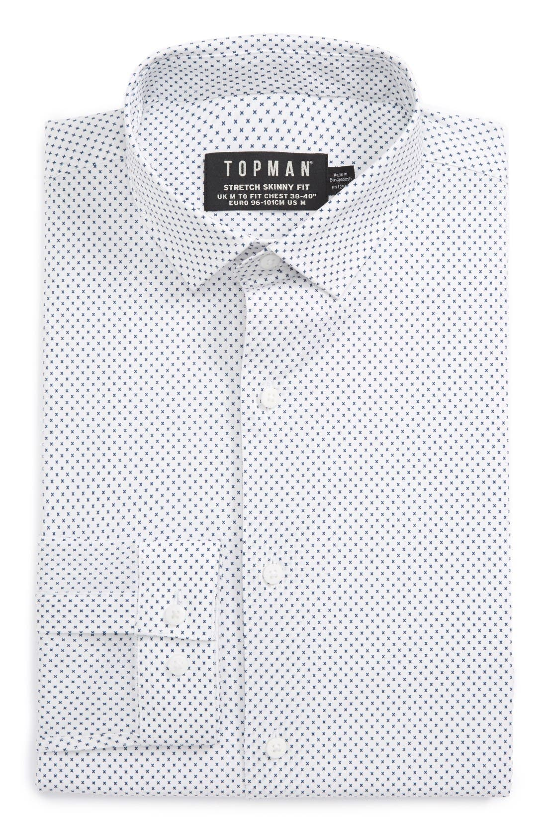 Topman Skinny Fit Dot Print Dress Shirt