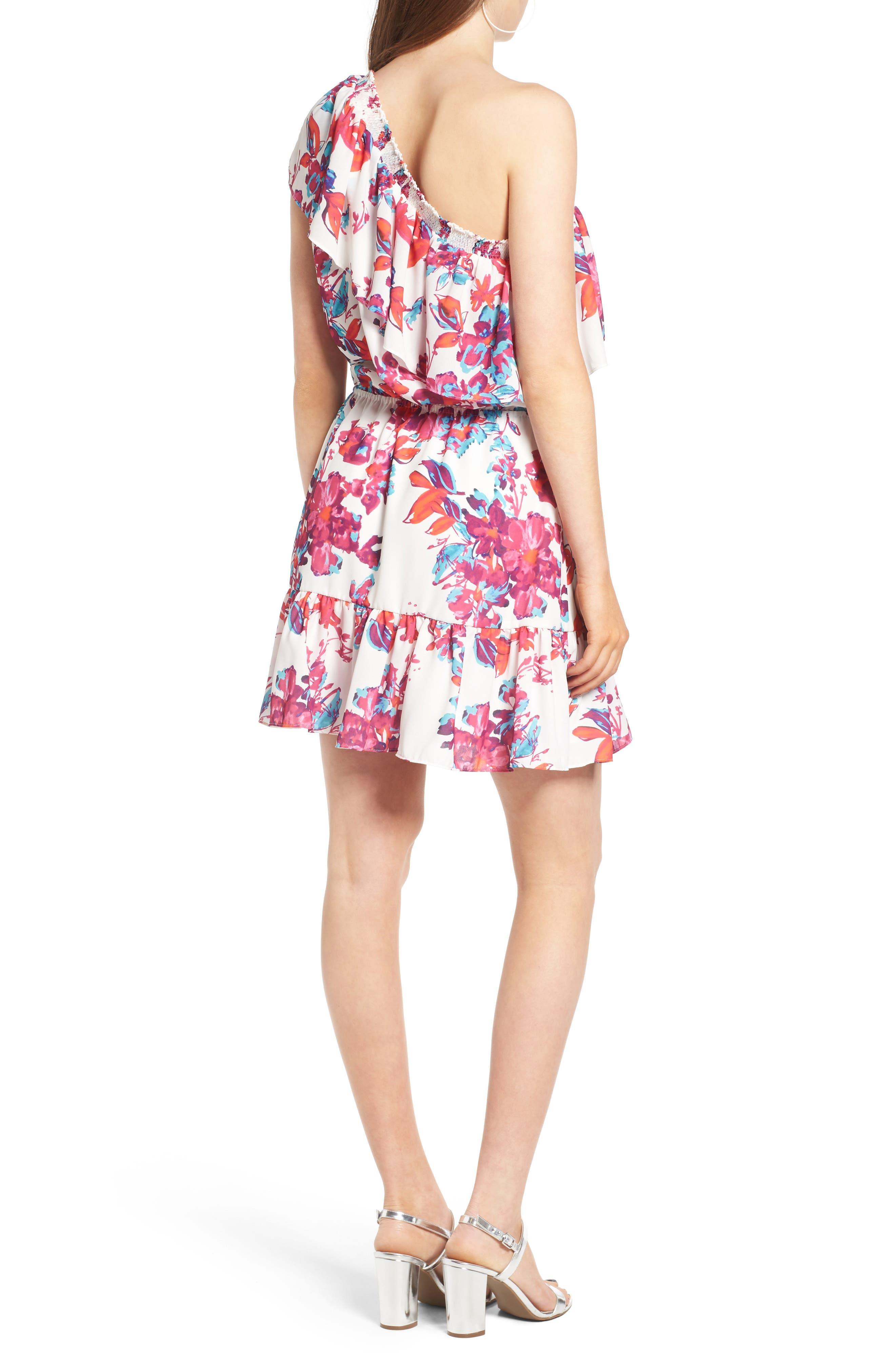 Alternate Image 2  - devlin Thea One-Shoulder Minidress