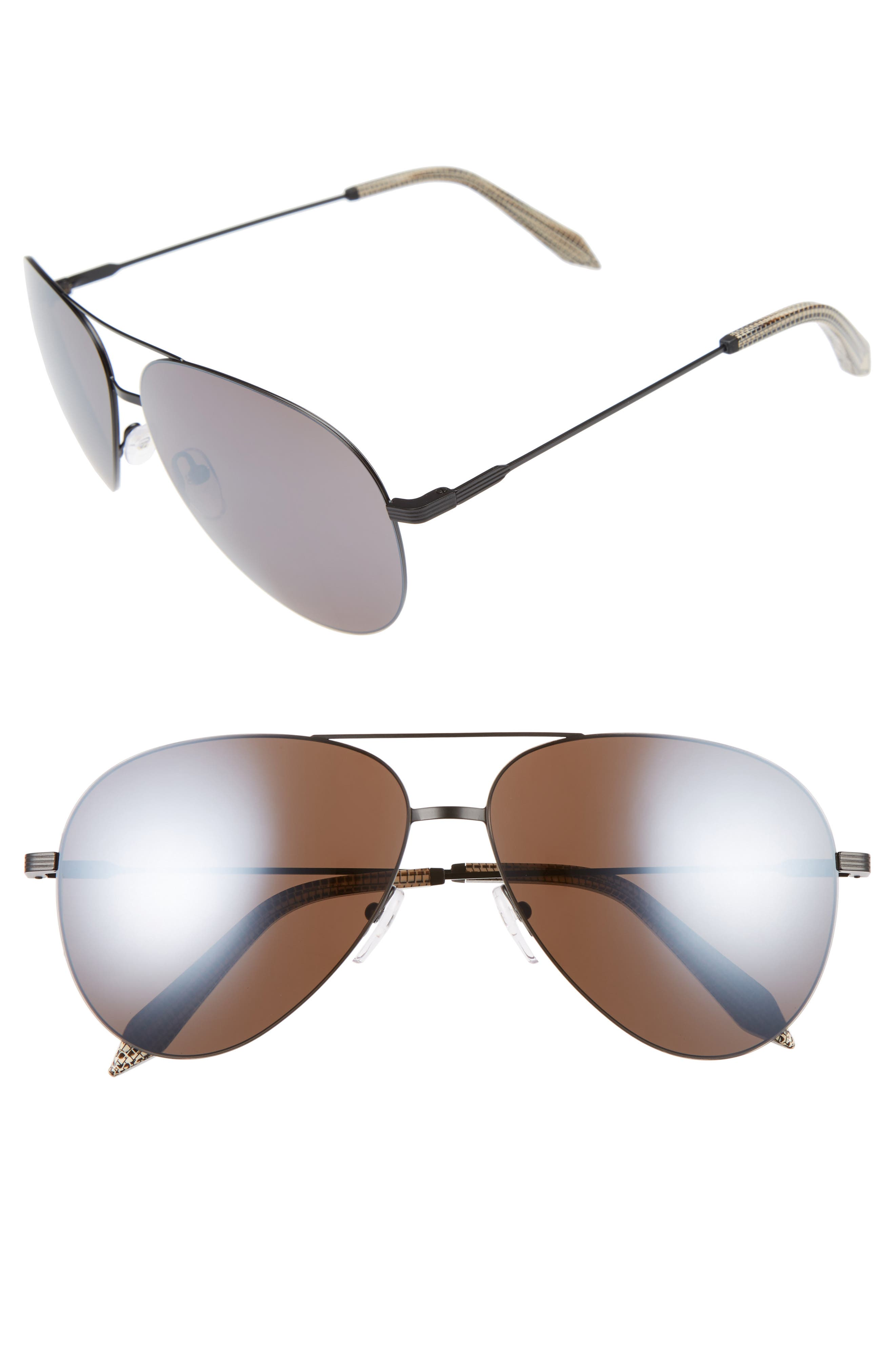 Victoria Beckham Classic Victoria Feather 62mm Aviator Sunglasses