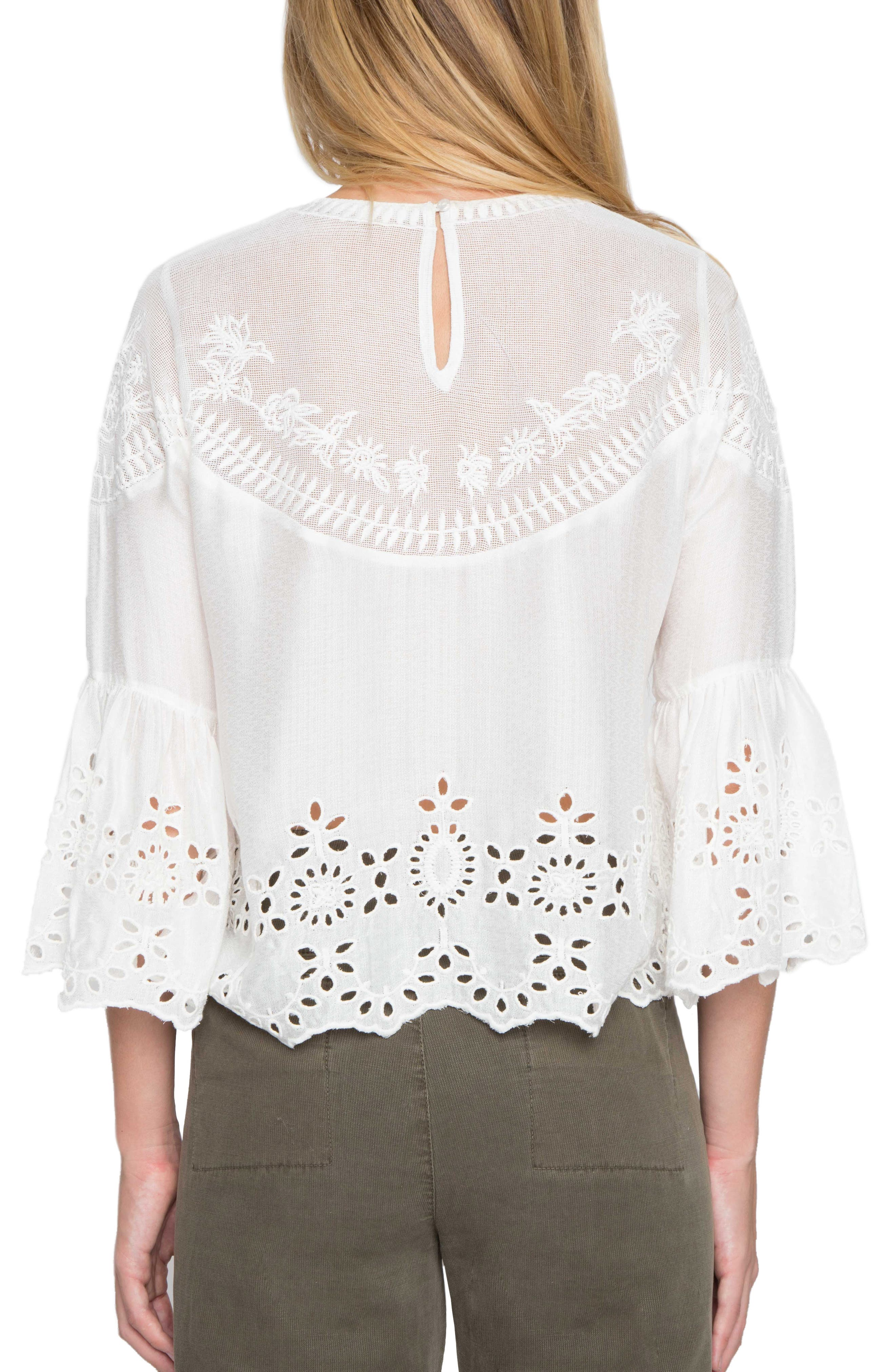 Alternate Image 2  - Willow & Clay Embroidered Bell Sleeve Top