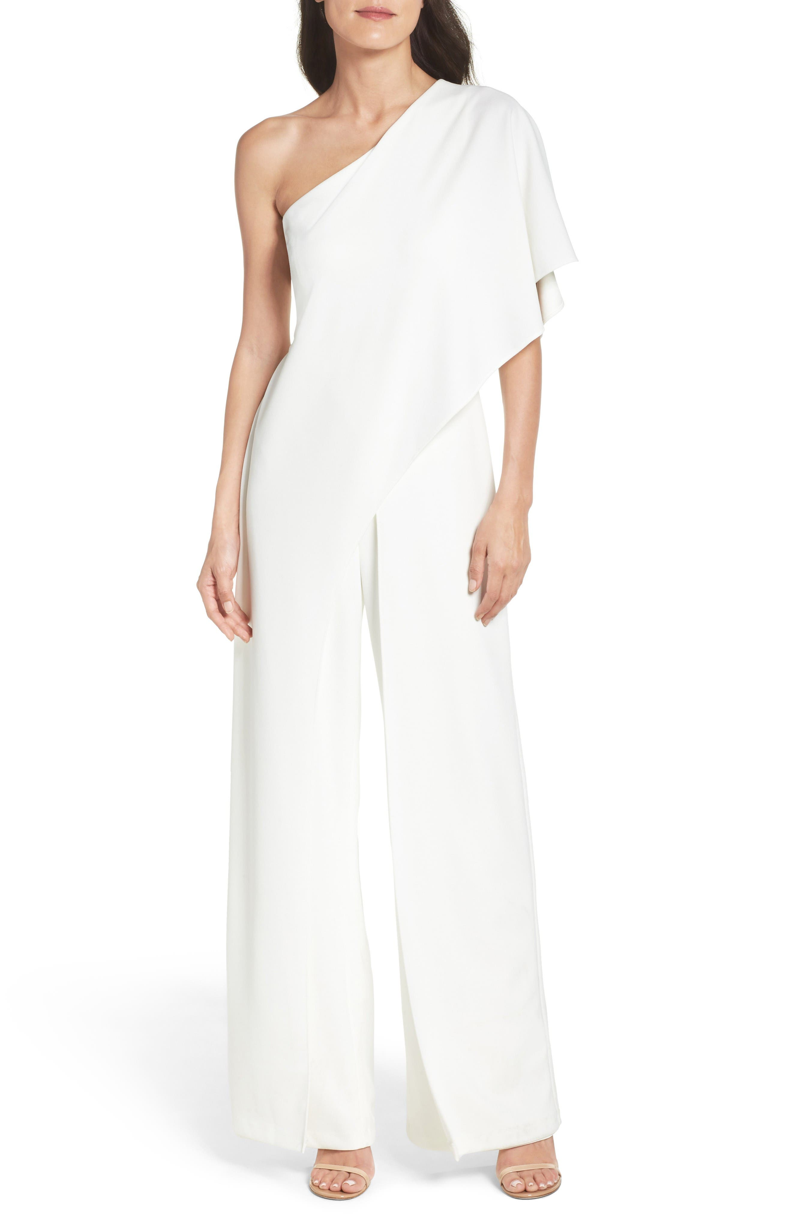 Alternate Image 1 Selected - Adrianna Papell One-Shoulder Jumpsuit