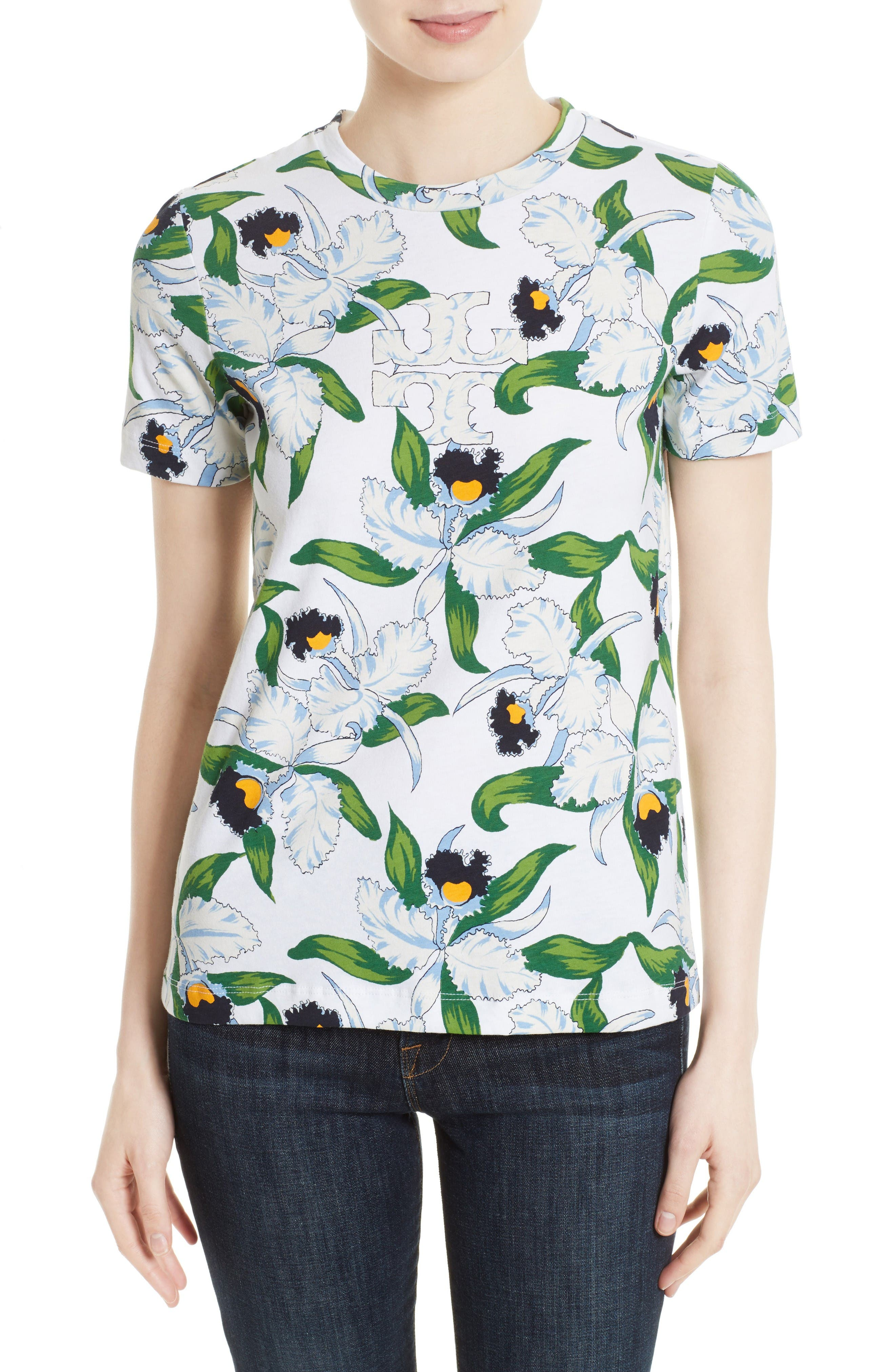 Alternate Image 1 Selected - Tory Burch Vienna Floral Print Tee