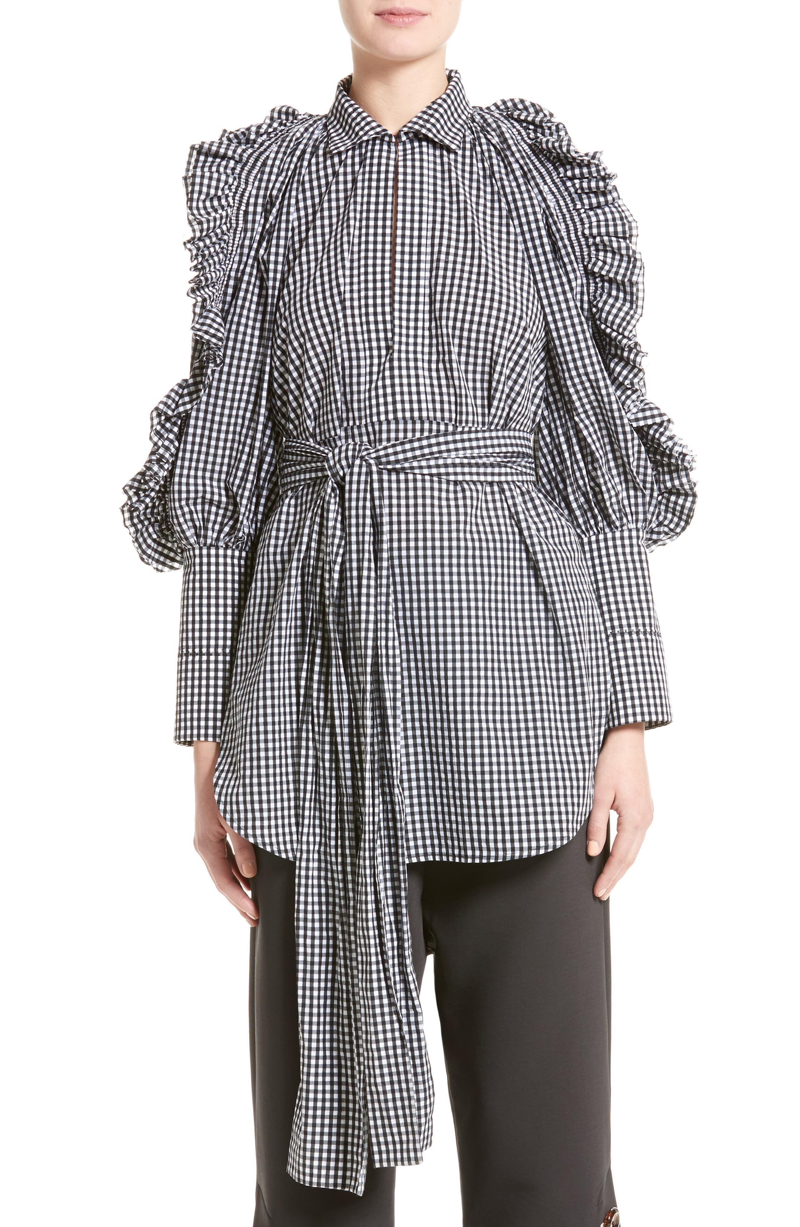 Main Image - ELLERY Angel Face Waxed Gingham Top