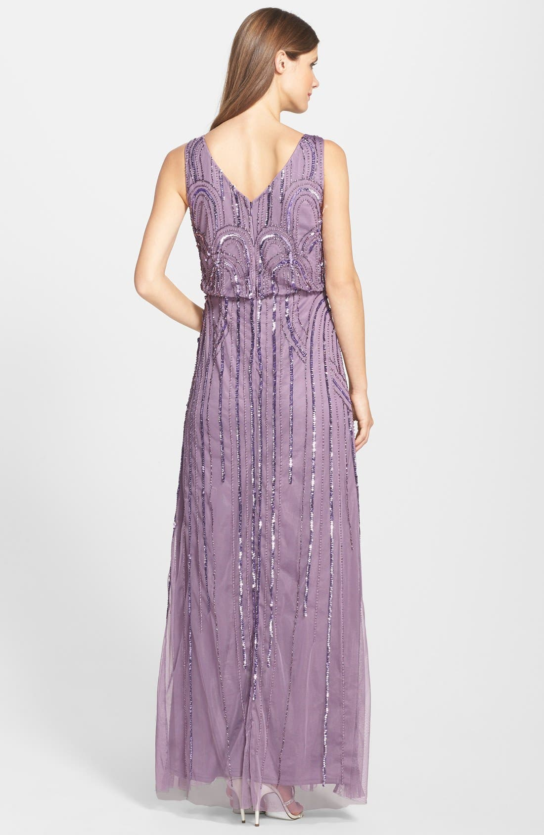 Alternate Image 2  - Adrianna Papell Beaded Mesh Blouson Gown