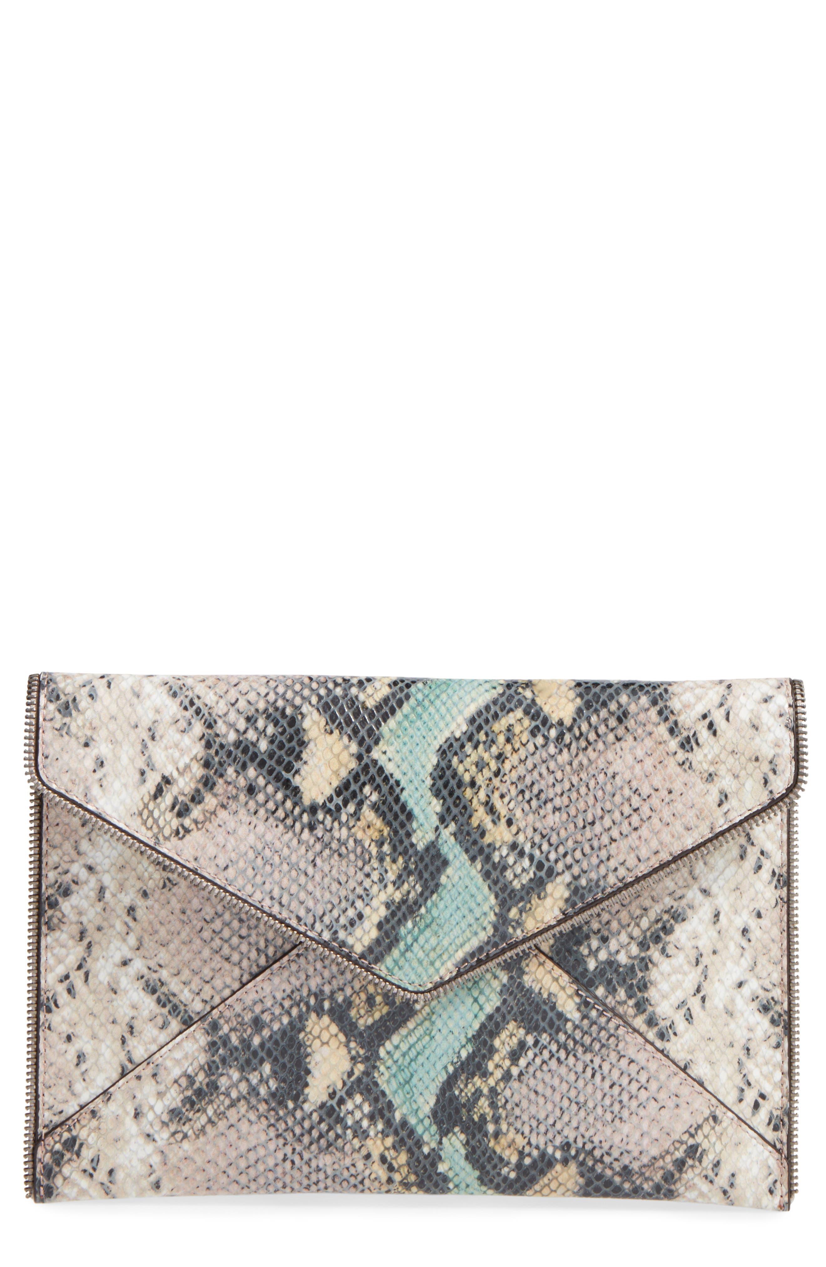 Main Image - Rebecca Minkoff Leo Snake Embossed Leather Clutch