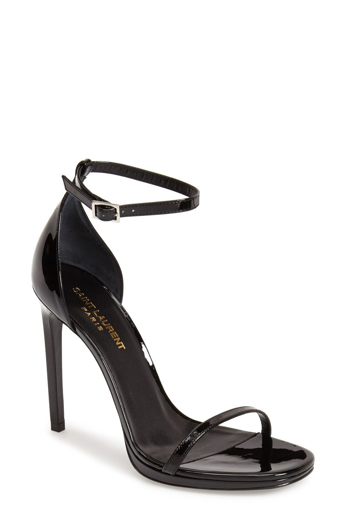Saint Laurent 'Jane' Ankle Strap Leather Sandal (Women)