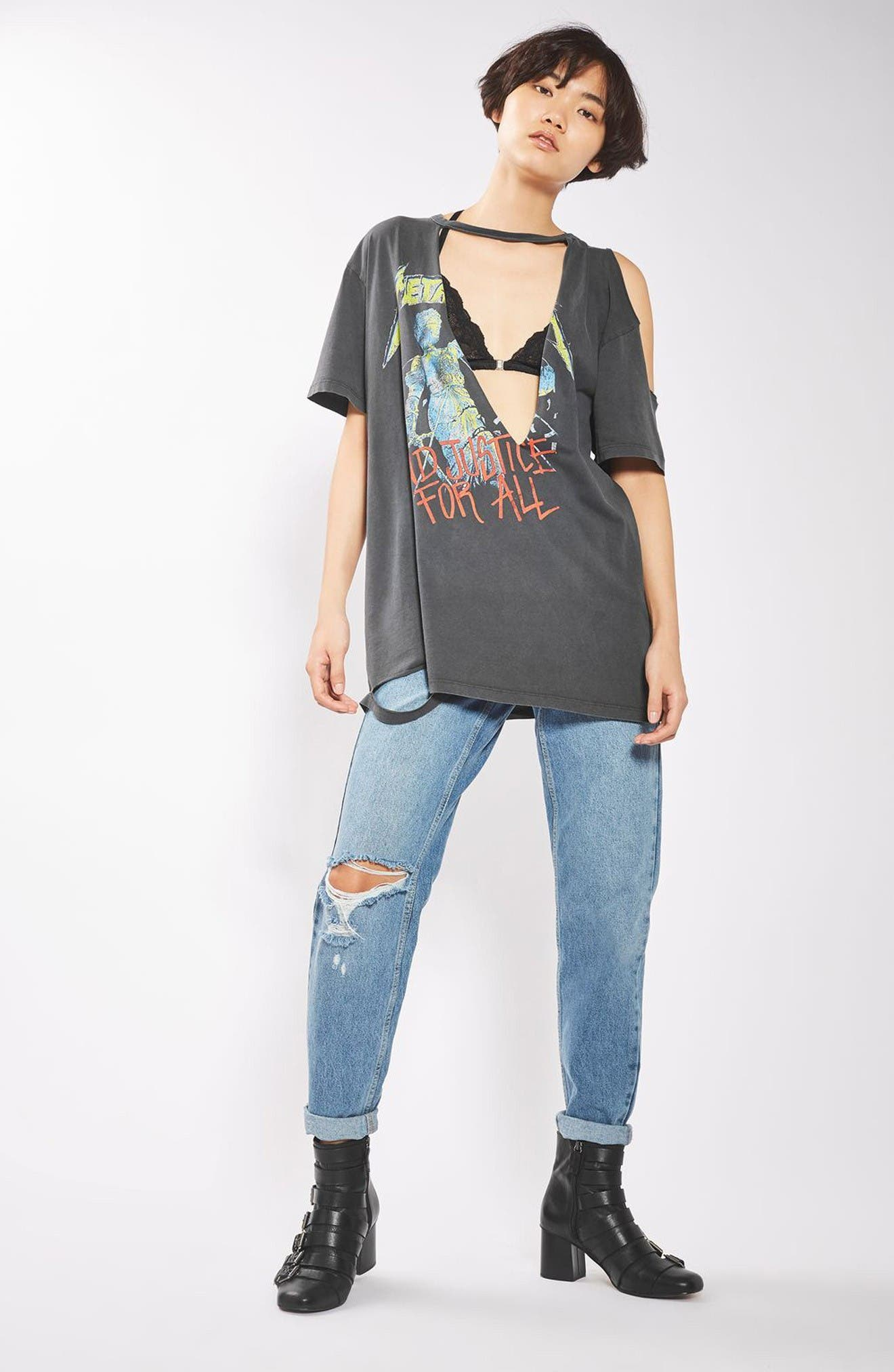 Alternate Image 2  - Topshop by And Finally Slashed Metallica Tee