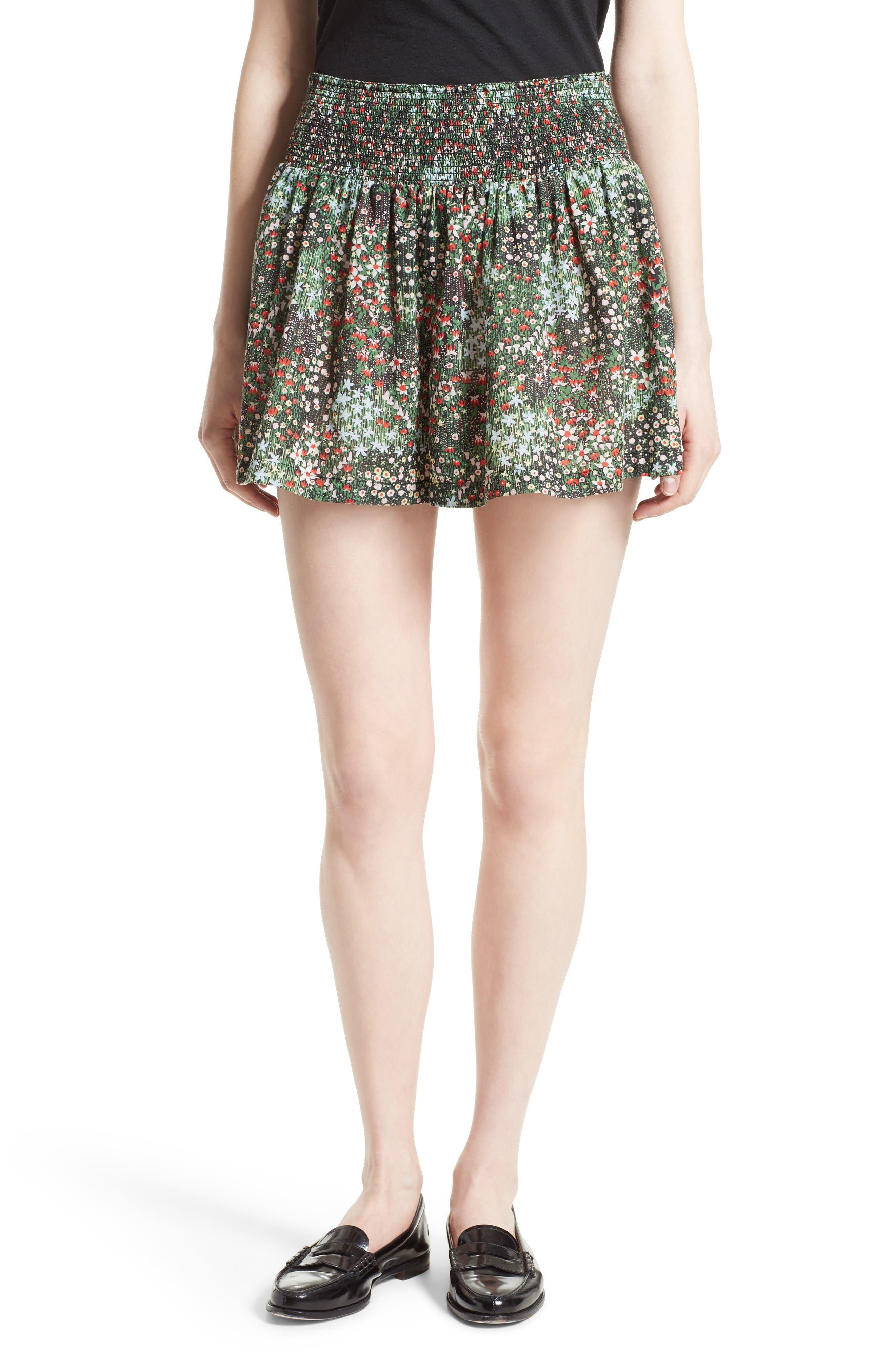 La Vie Rebecca Taylor Wildflower Smocked Waist Shorts